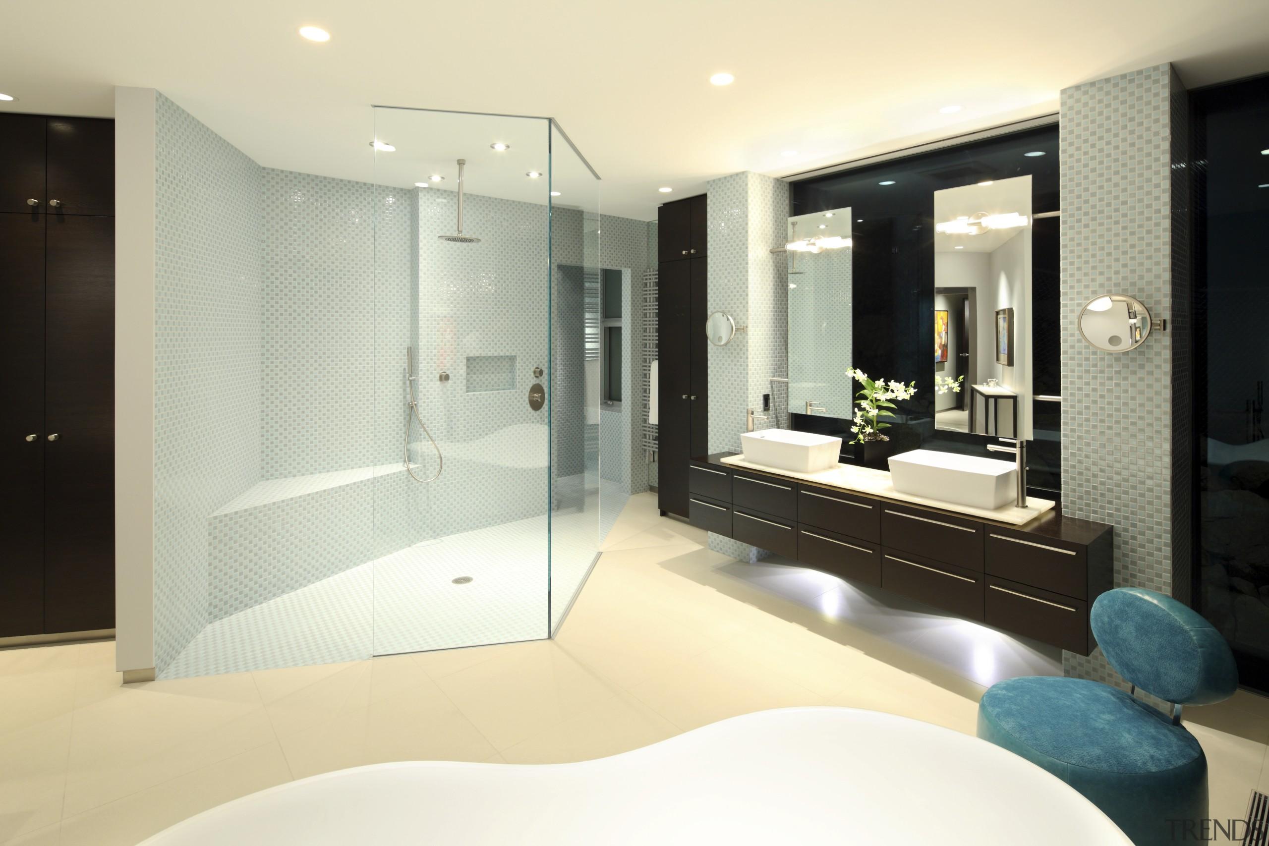 View of bathroom with cream flooring, teal seat bathroom, floor, interior design, room, yellow