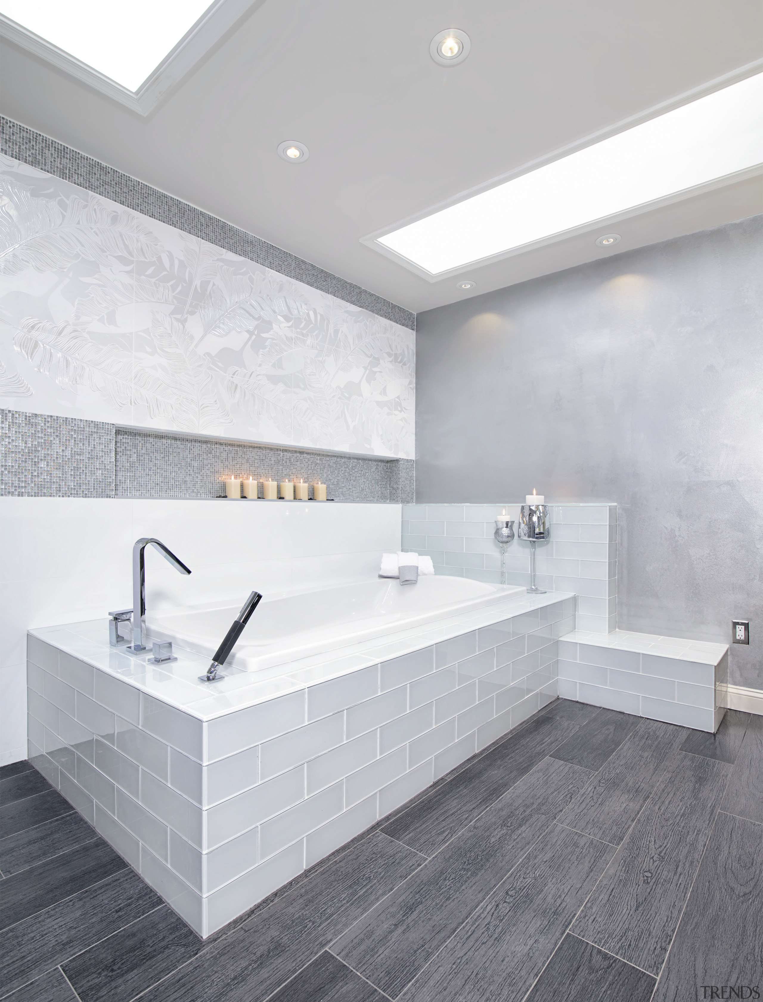 Spa style bathroom with large format subway tile angle, architecture, bathroom, bathroom sink, daylighting, floor, flooring, interior design, product design, sink, tap, tile, wall, white