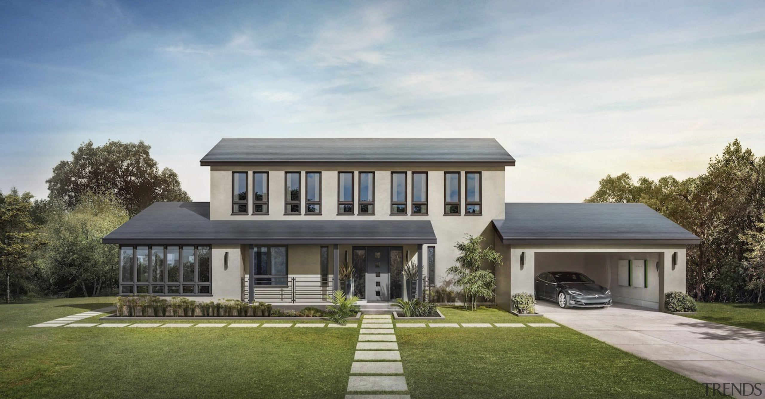 A home with Tesla Solar Roof tiles installed architecture, cottage, elevation, estate, facade, farmhouse, home, house, mansion, property, real estate, residential area, roof, villa, gray
