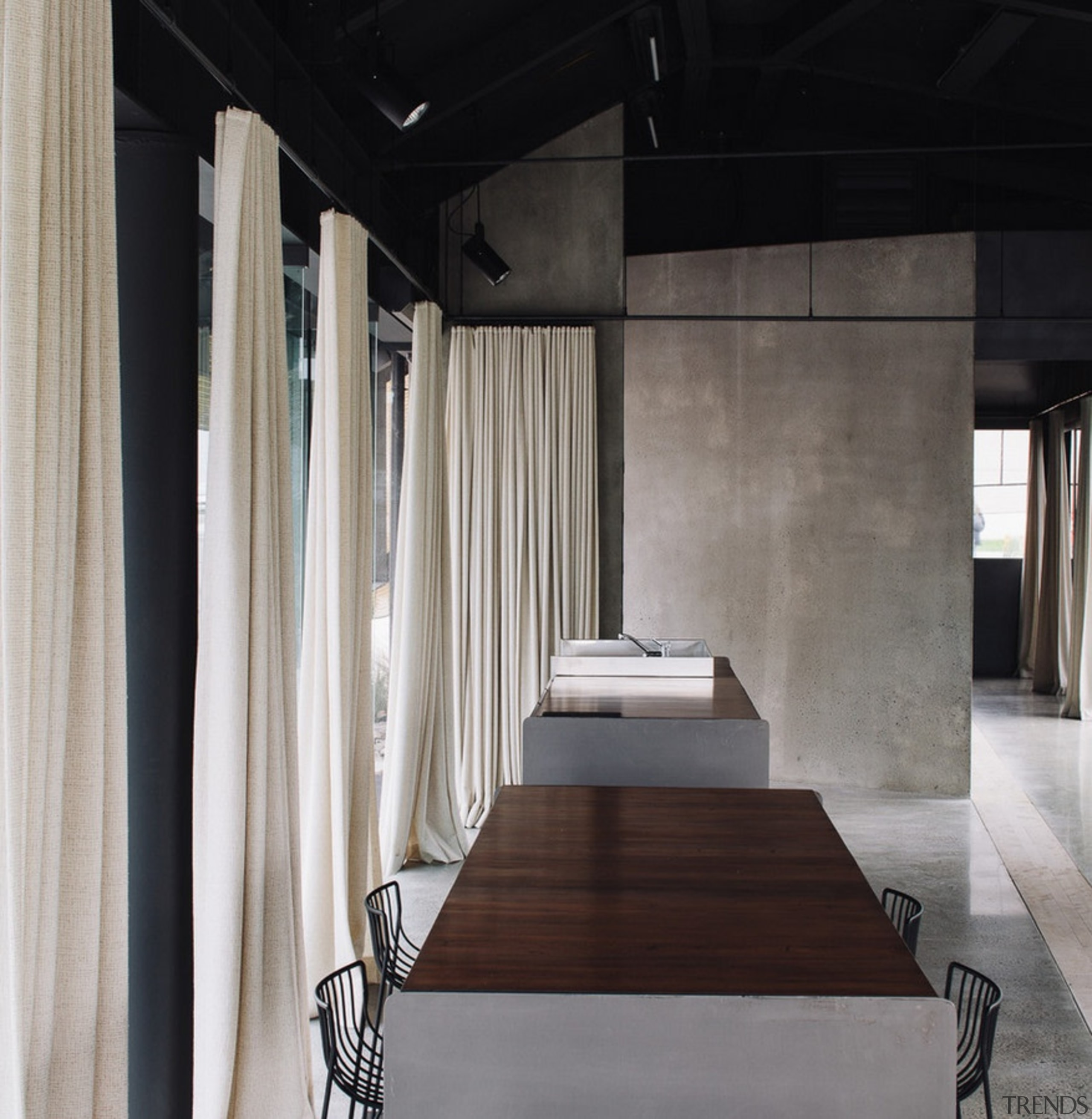 Winner of the Villa Category at the World architecture, ceiling, floor, flooring, furniture, interior design, table, wall, wood, gray, black