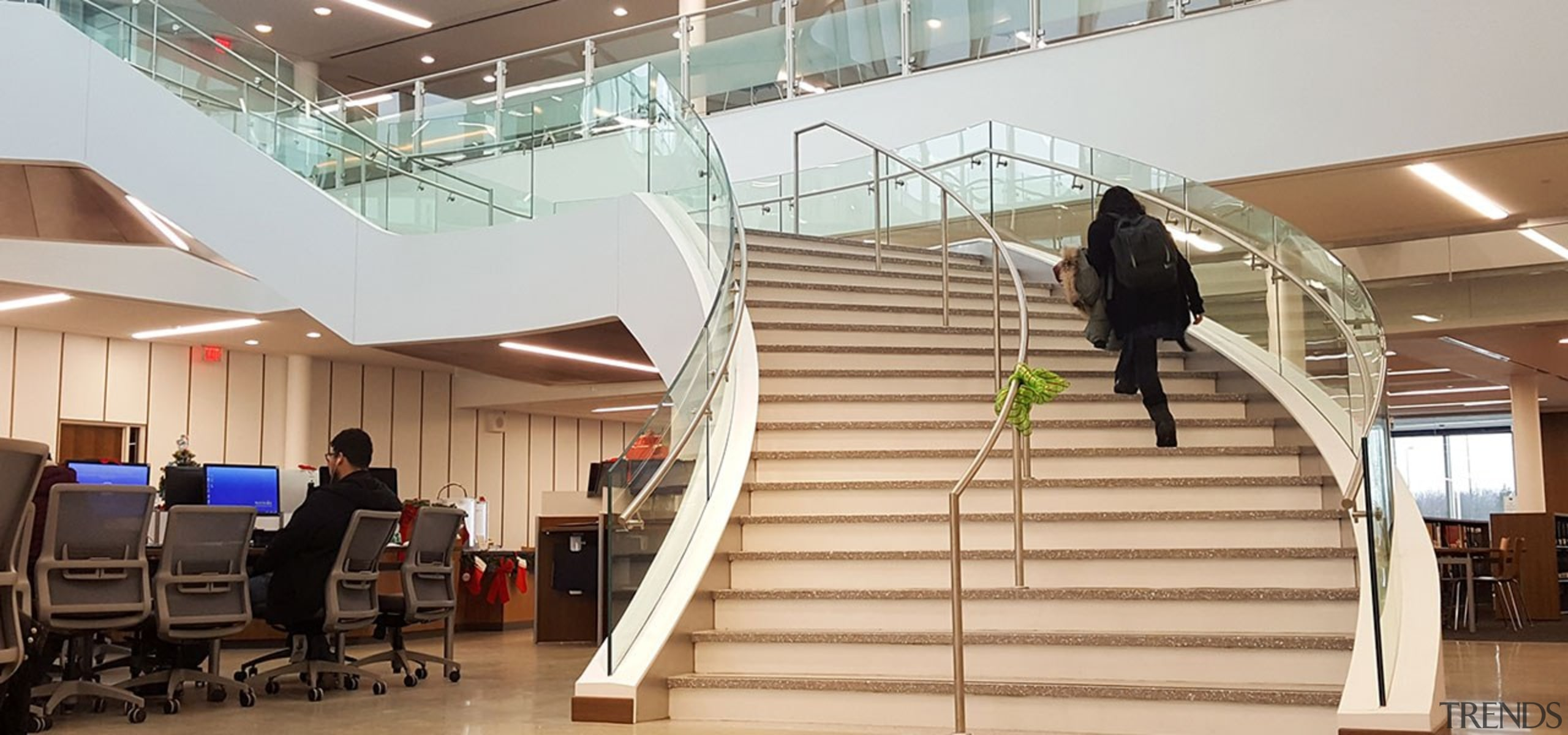 Suffolk County Community College 3 - architecture | architecture, building, daylighting, handrail, interior design, lobby, stairs, white