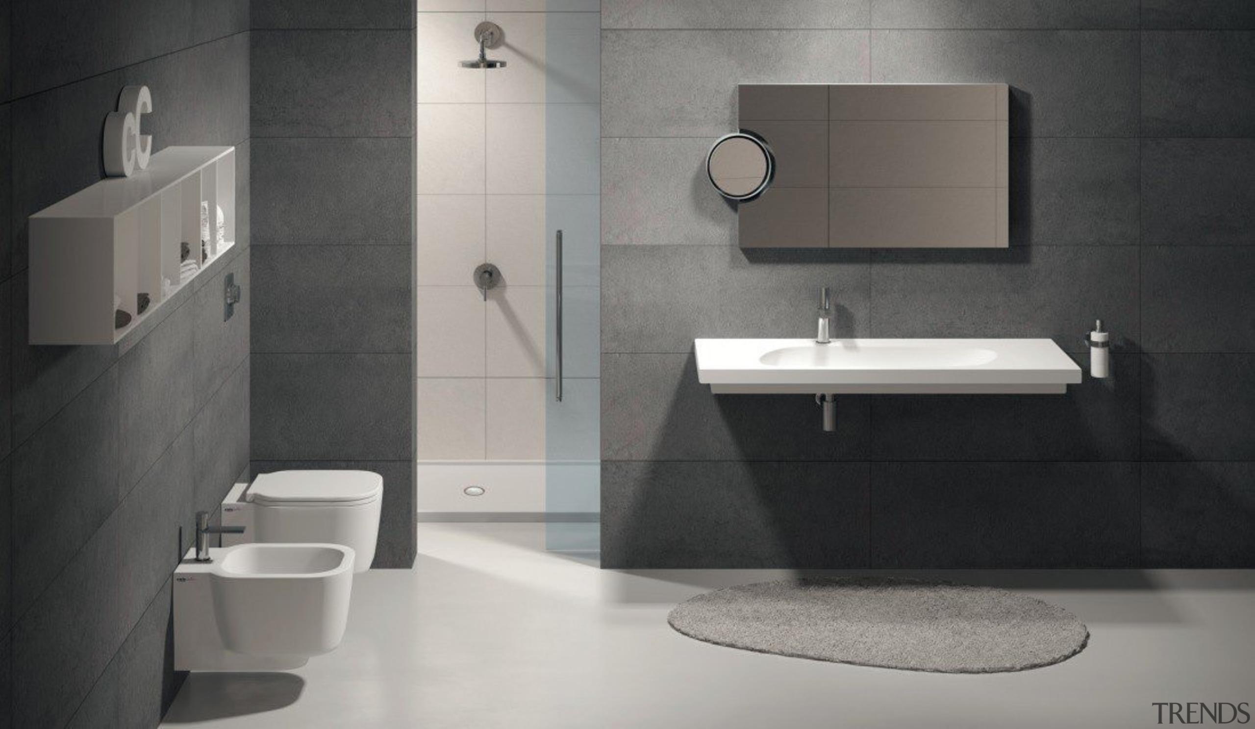 Cubika - angle | bathroom | bathroom accessory angle, bathroom, bathroom accessory, bathroom cabinet, bathroom sink, bidet, ceramic, floor, interior design, plumbing fixture, product design, room, sink, tap, tile, toilet, wall, gray, black