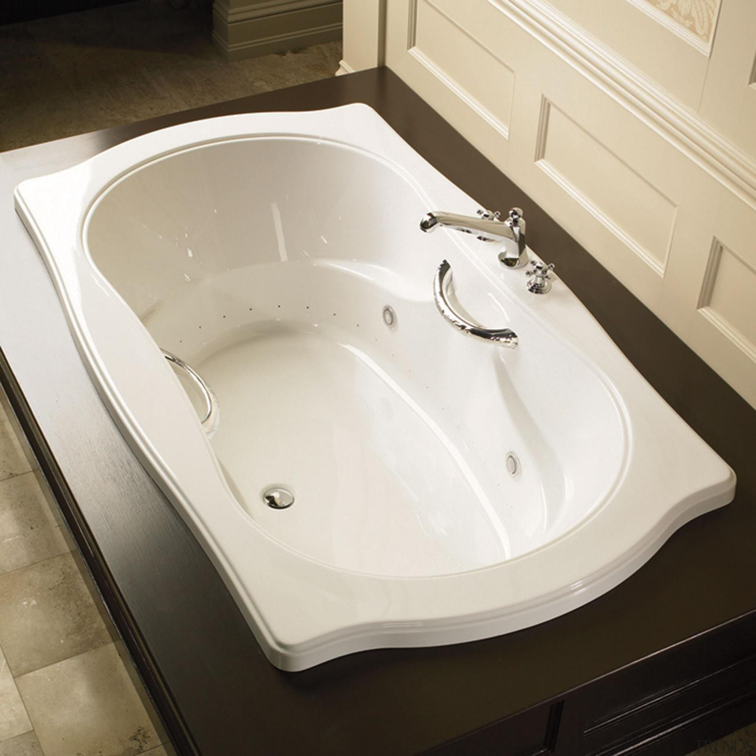 This Elegancia contour is reminiscent of the Victorian angle, bathroom, bathroom sink, bathtub, ceramic, floor, plumbing fixture, product design, sink, tap, toilet seat, white