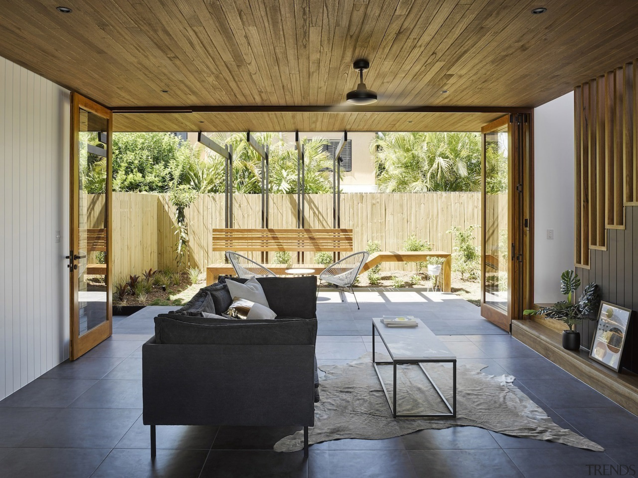 Architect: Refresh DesignPhotography by Roger D'Souza architecture, backyard, ceiling, daylighting, estate, floor, home, house, interior design, living room, patio, porch, property, real estate, shade, wall, window, window treatment, wood, brown