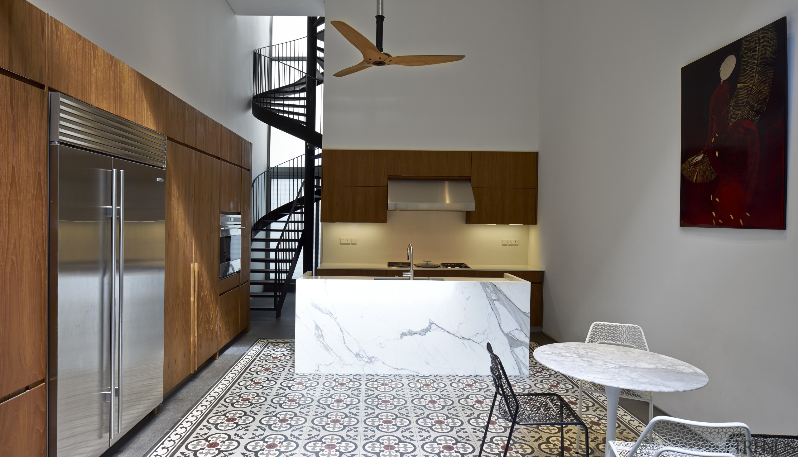 The kitchen is in the rear block of architecture, home, interior design, real estate, room, gray