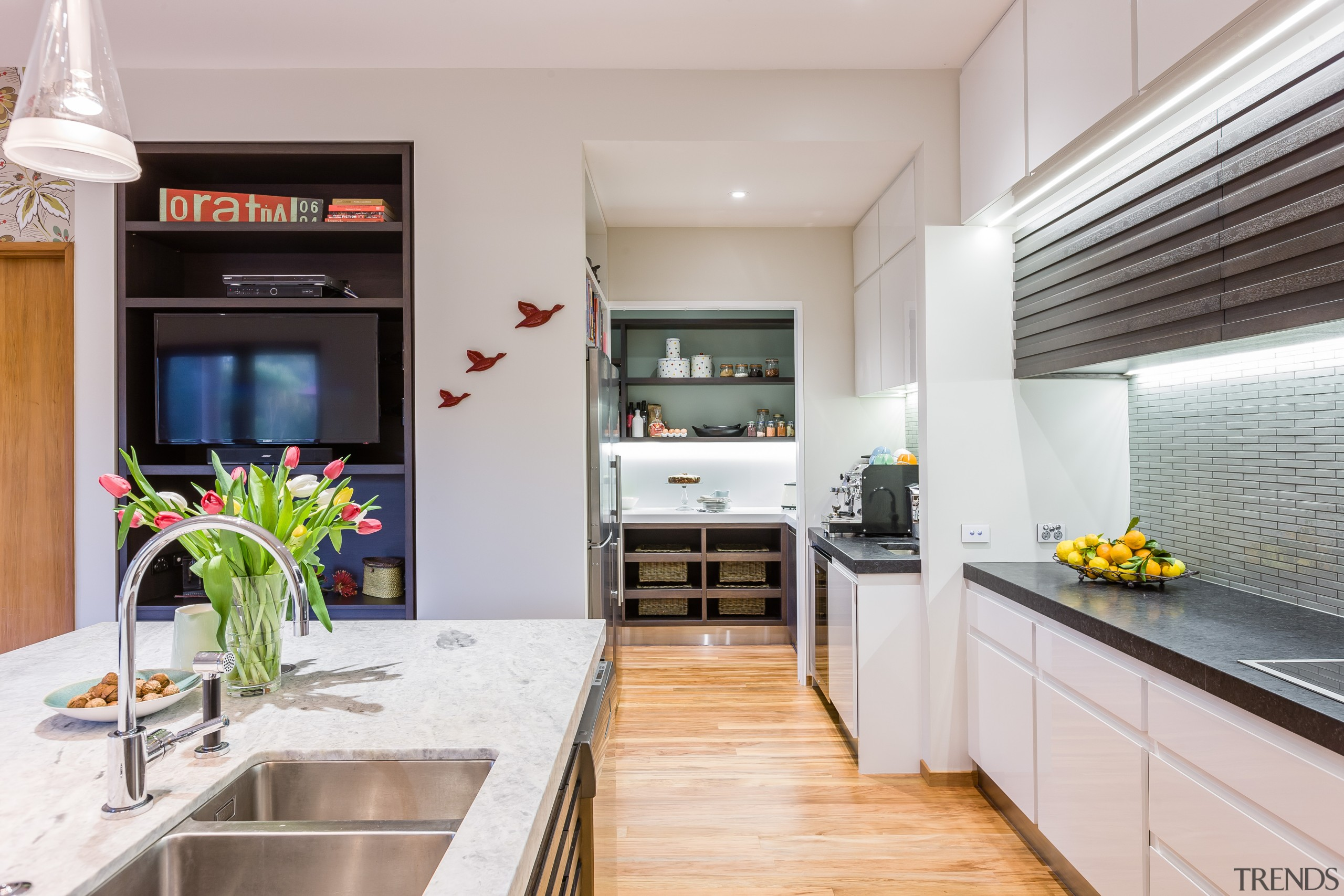 This walk-in pantry continues the two-tone theme of countertop, interior design, kitchen, real estate, gray