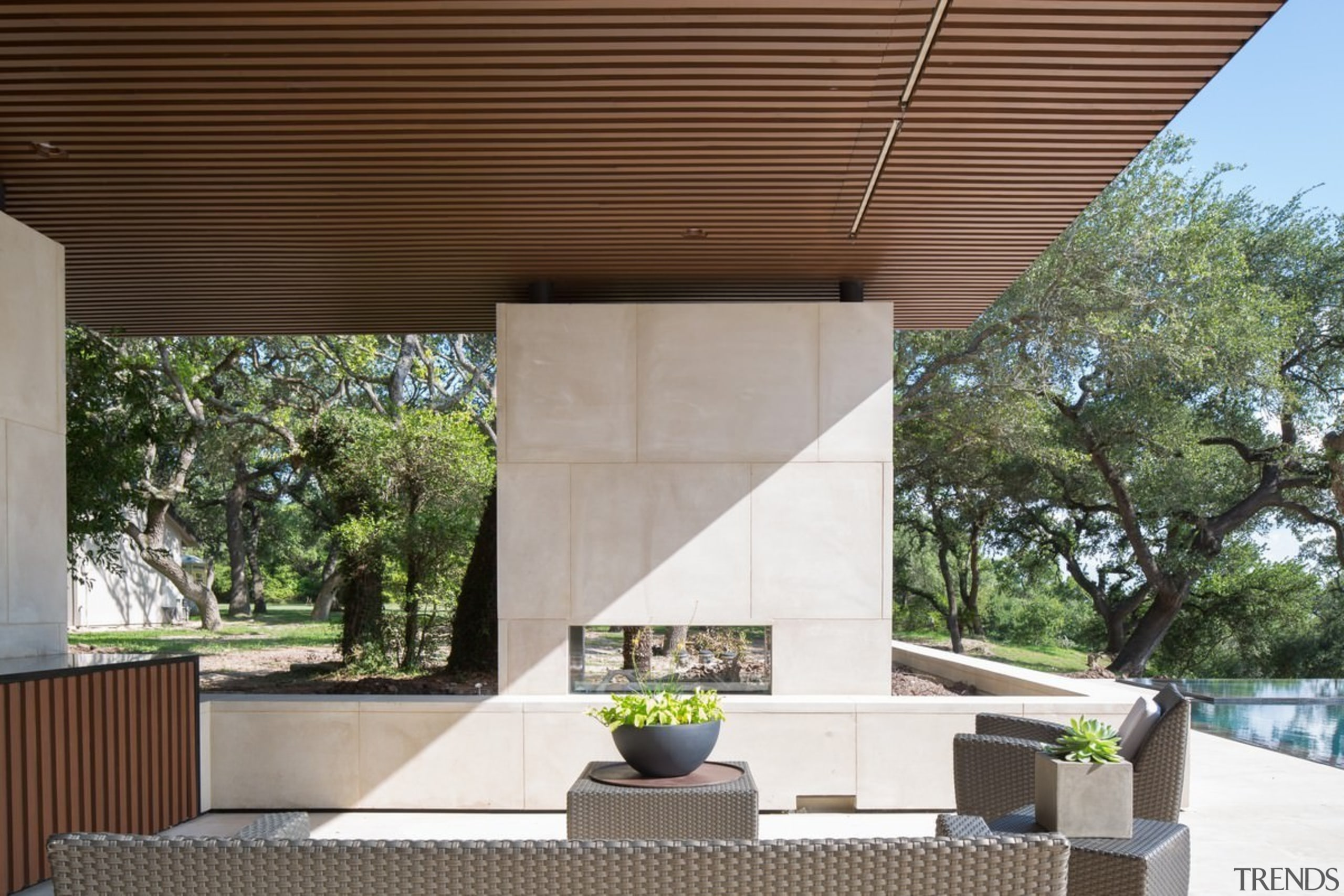 A roof provides respite from the Texas sun architecture, daylighting, house, outdoor structure, patio, roof, shade, brown