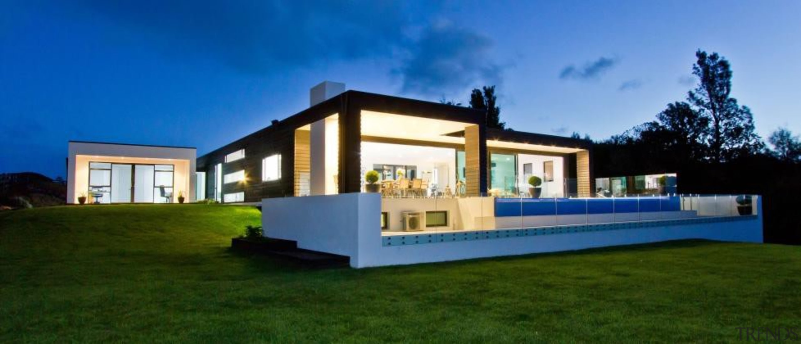 A contemporary house design by Design House Architecture architecture, cottage, elevation, estate, facade, home, house, property, real estate, residential area, villa, blue