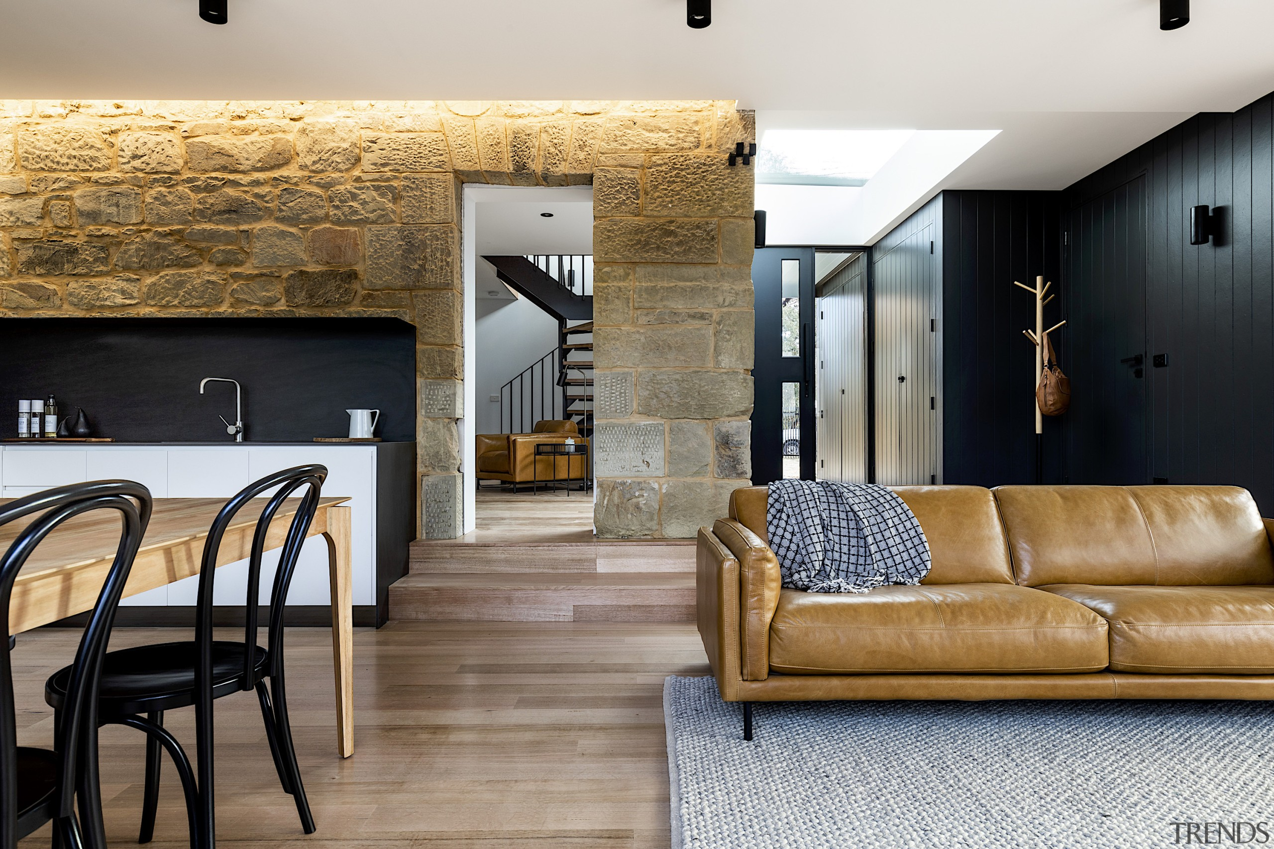Bijl Architecture – Runner-up – 2019 TIDA Australia apartment, architecture, brick, building, ceiling, coffee table, design, floor, flooring, furniture, home, house, interior design, lighting, living room, loft, property, real estate, room, suite, table, tile, wall, gray