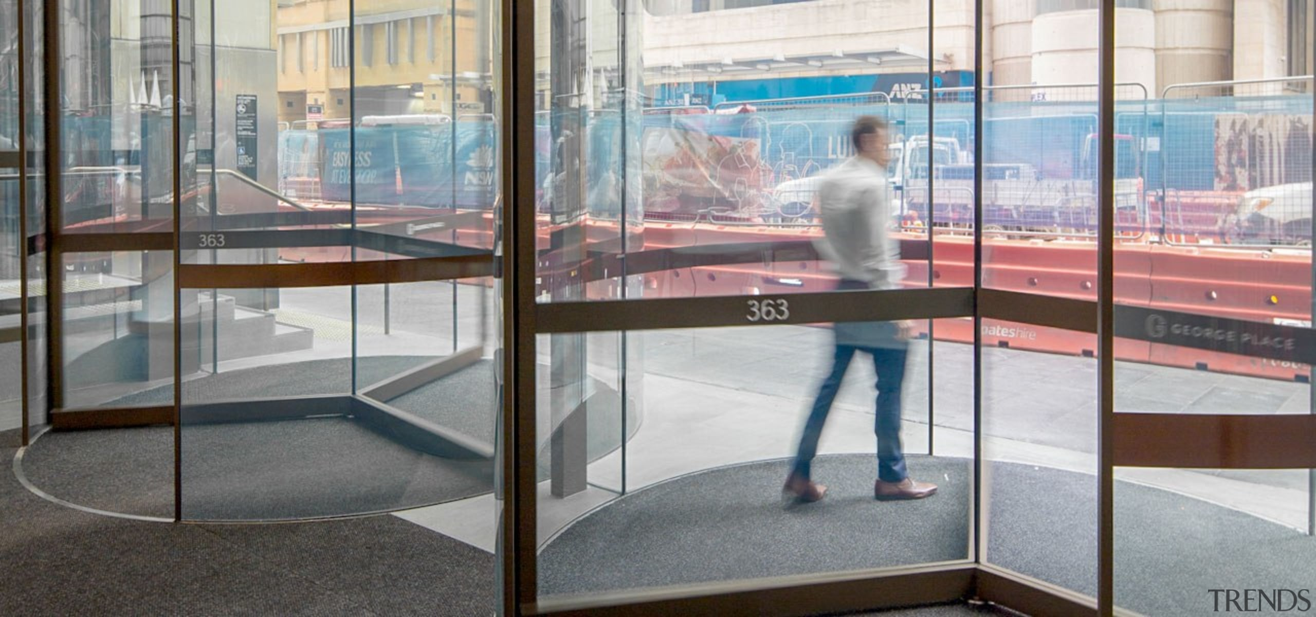 George Place 02 - architecture   display case architecture, display case, display window, door, glass, interior design, metal, reflection, room, transparent material, window, window film, gray