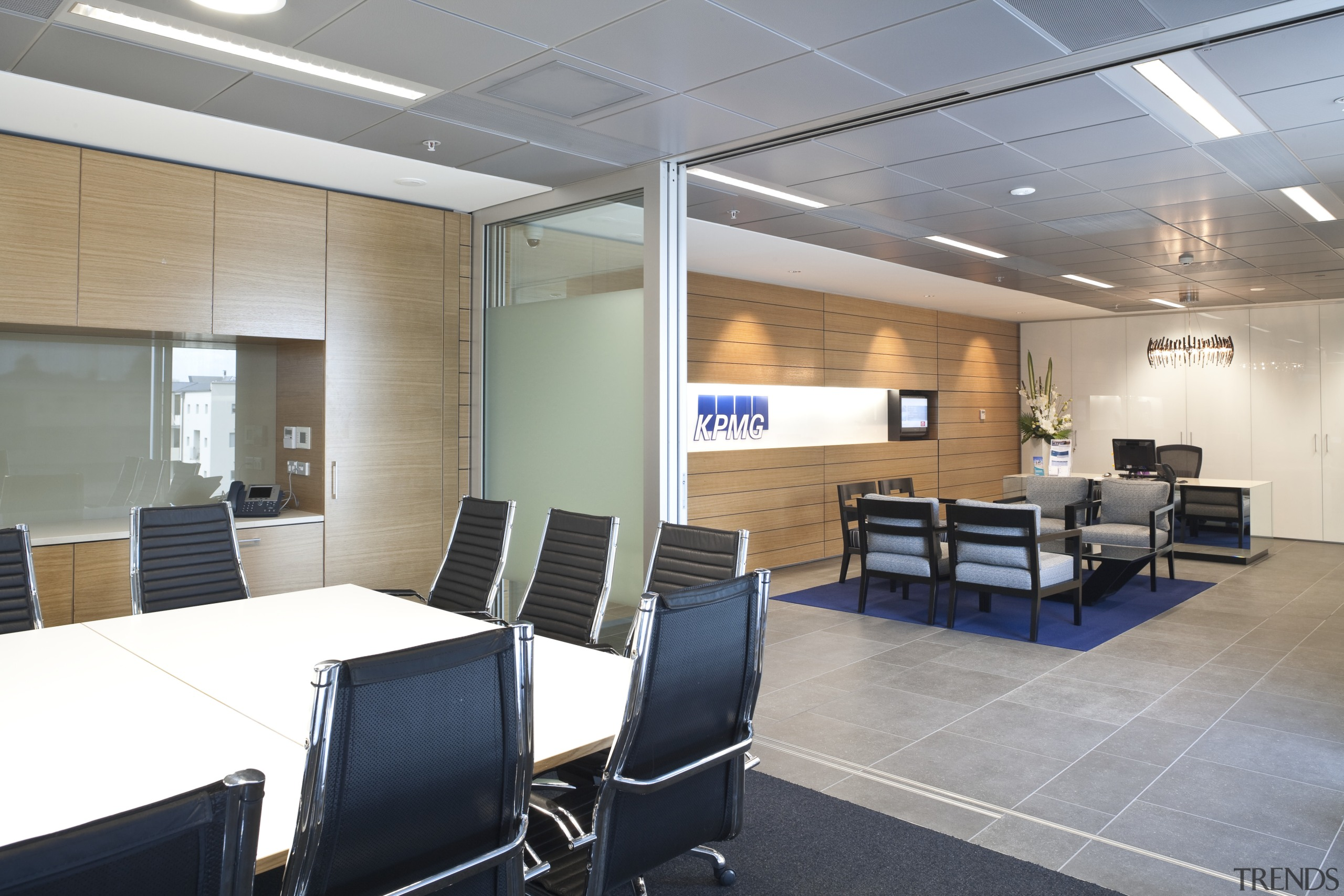 View of the Club Tower offices in Christchurch, ceiling, conference hall, interior design, office, real estate, gray, white