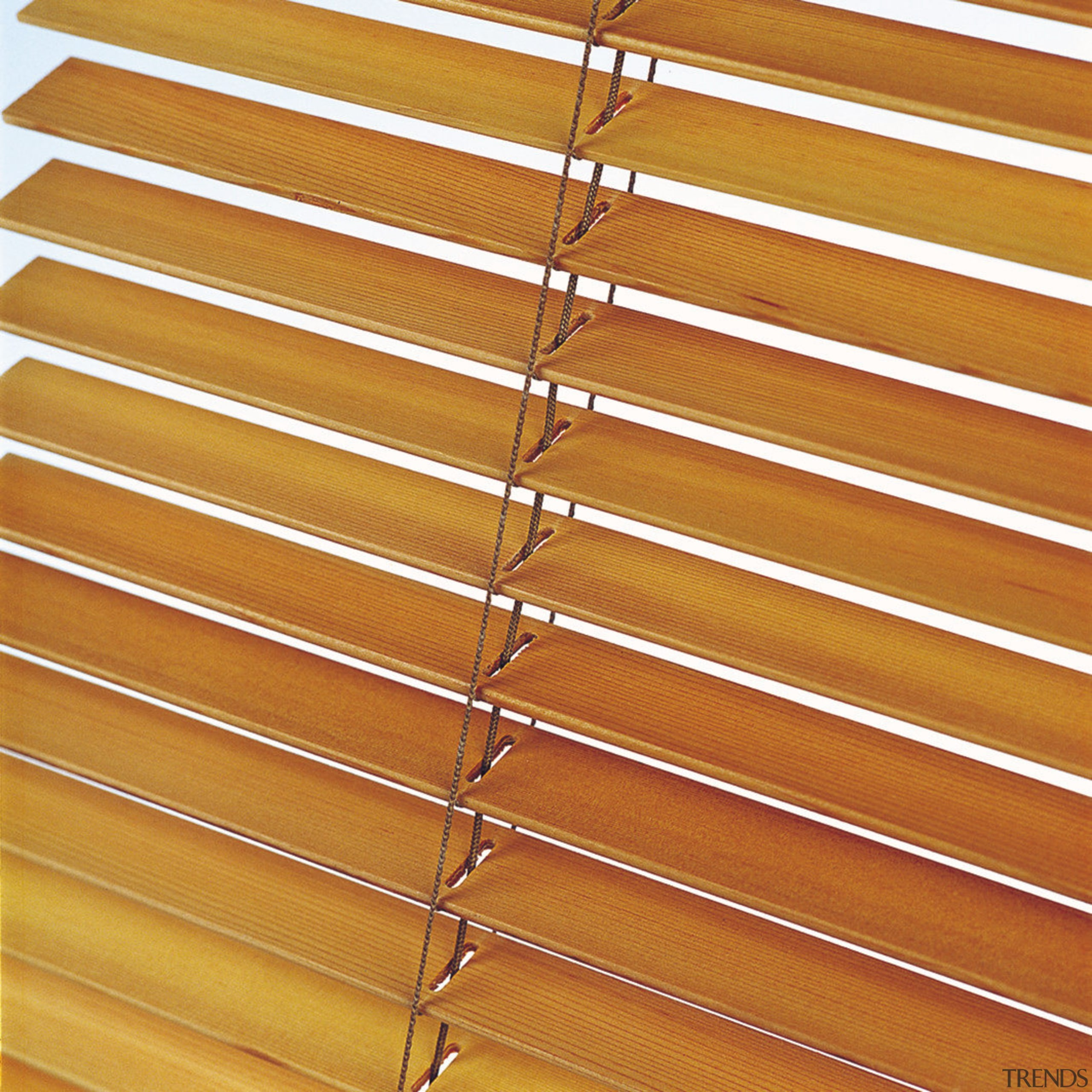 A view of some blinds from Window Treatments. angle, line, material, mesh, metal, wall, window blind, window covering, wood, wood stain, orange, brown