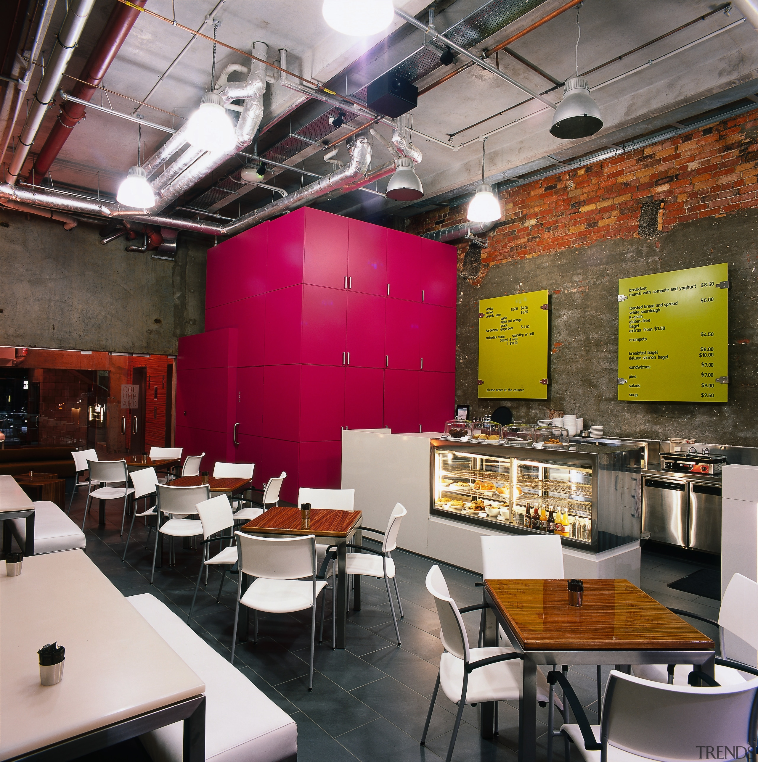 Cafe with exposed brick and concrete walls, exposed café, fast food restaurant, interior design, restaurant, gray, black