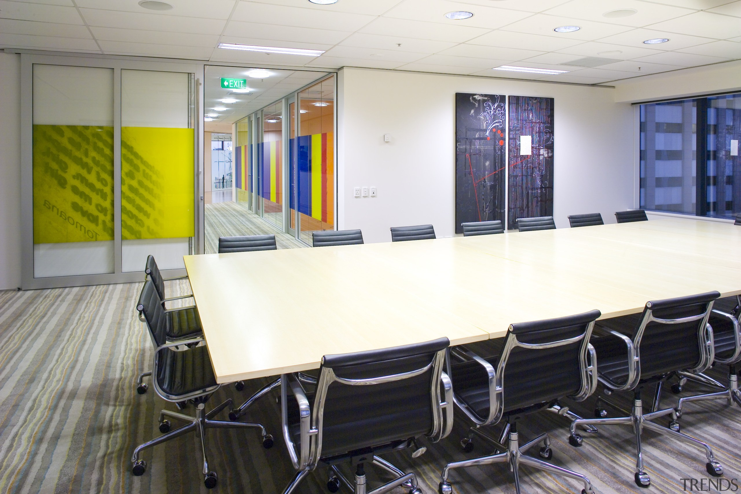 View of the Kiwi Income Property Managment offices classroom, conference hall, furniture, institution, interior design, office, table, white