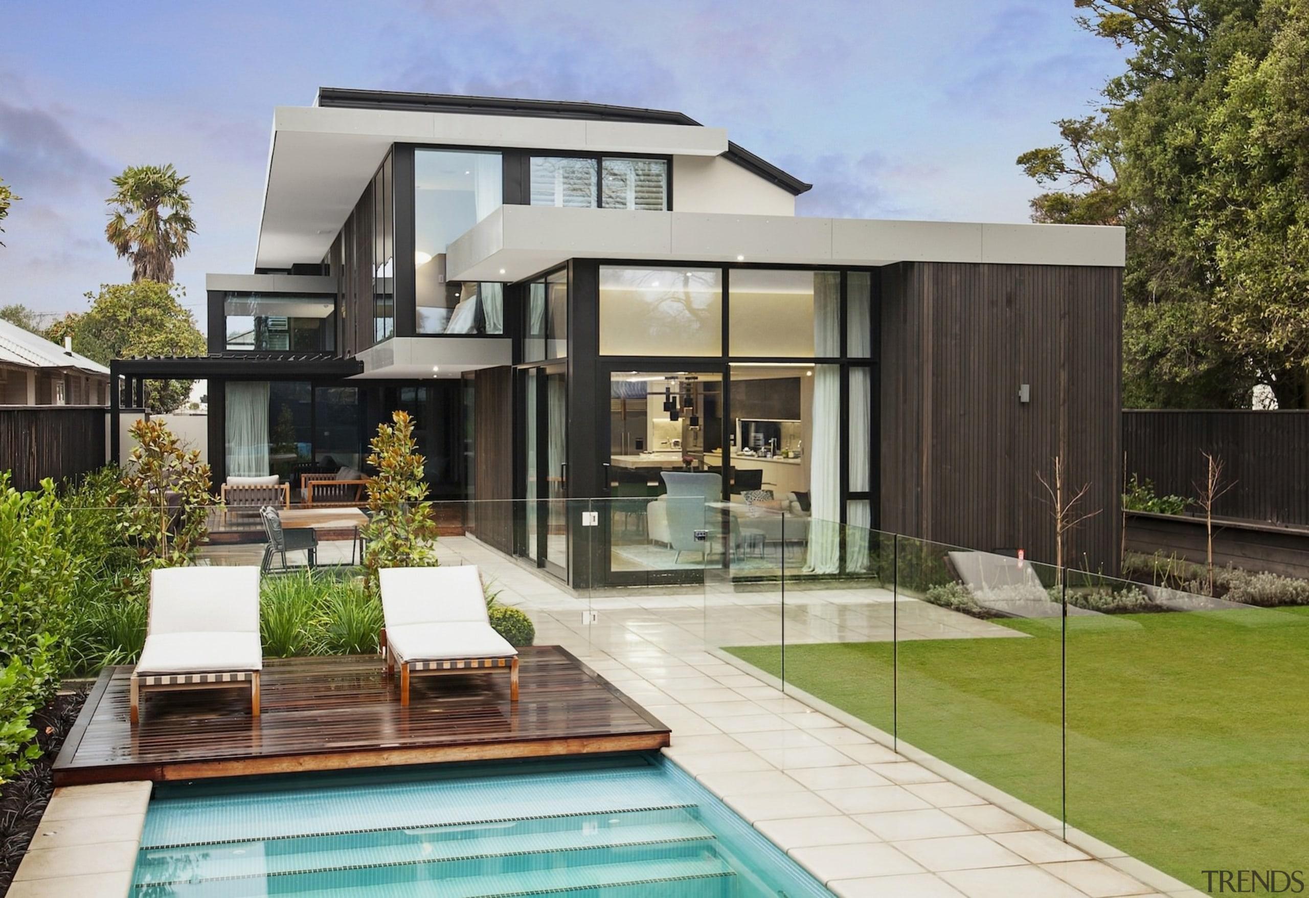 TIDA NZ 2017 – Designer new home winner architecture, backyard, elevation, estate, facade, home, house, property, real estate, residential area, swimming pool, villa