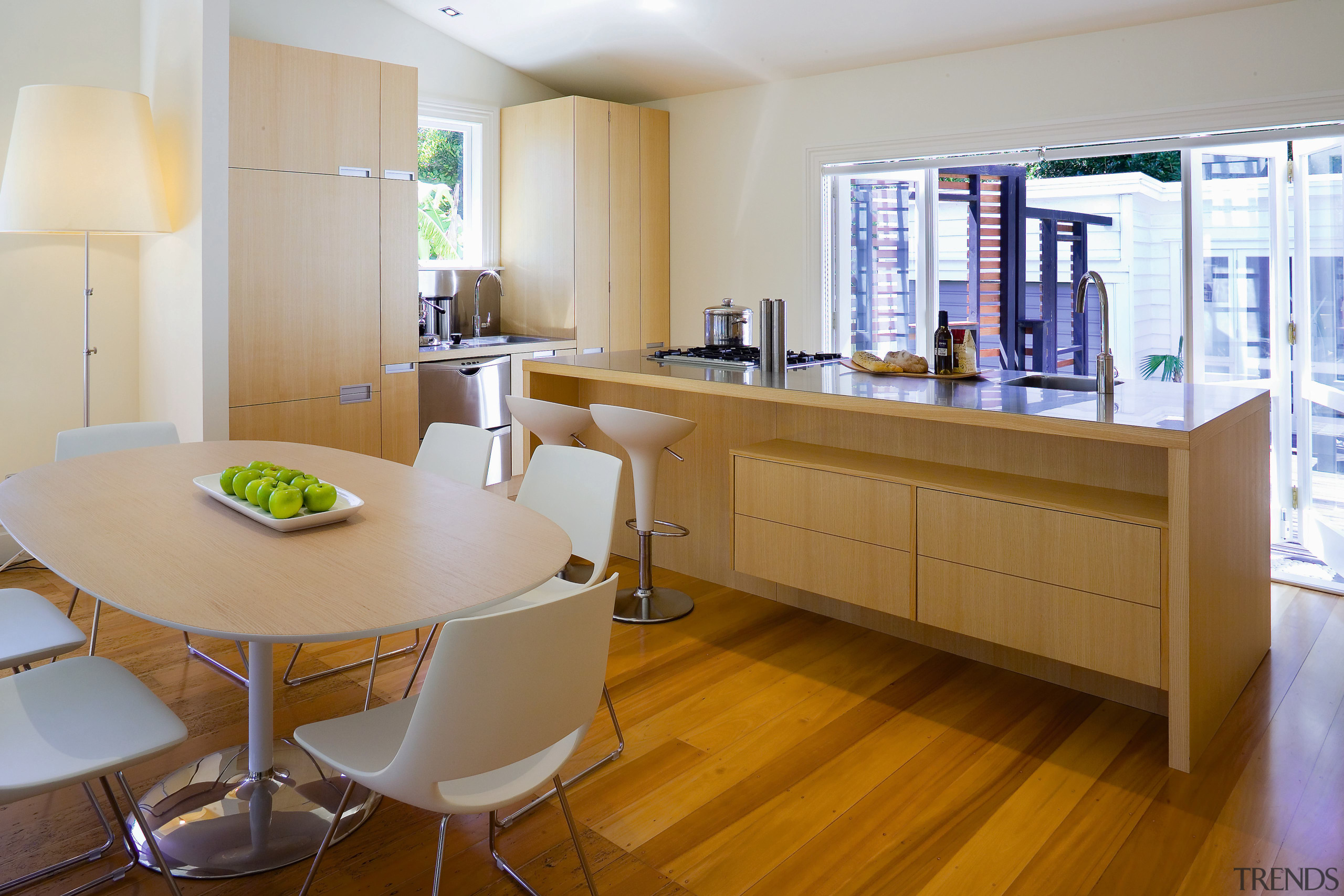 A view of the kitchen and dining areas, furniture, interior design, kitchen, real estate, room, table, brown, gray