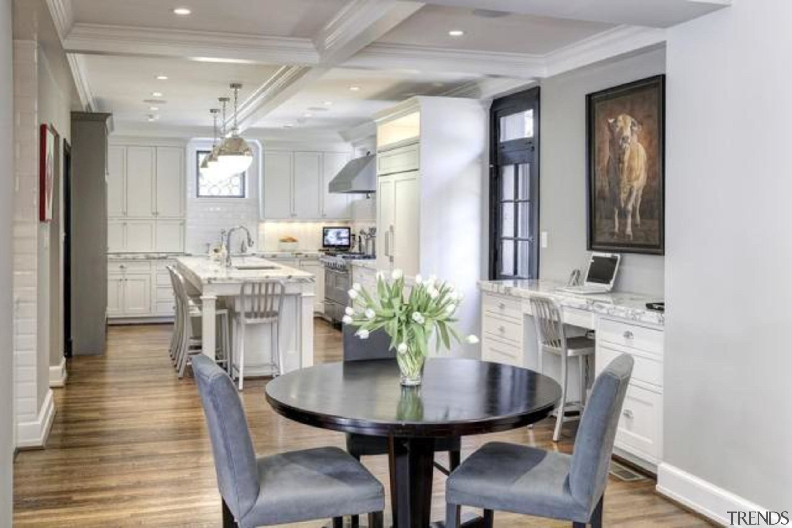 Original story from Trulia ceiling, countertop, cuisine classique, dining room, floor, home, interior design, kitchen, property, real estate, room, table, gray