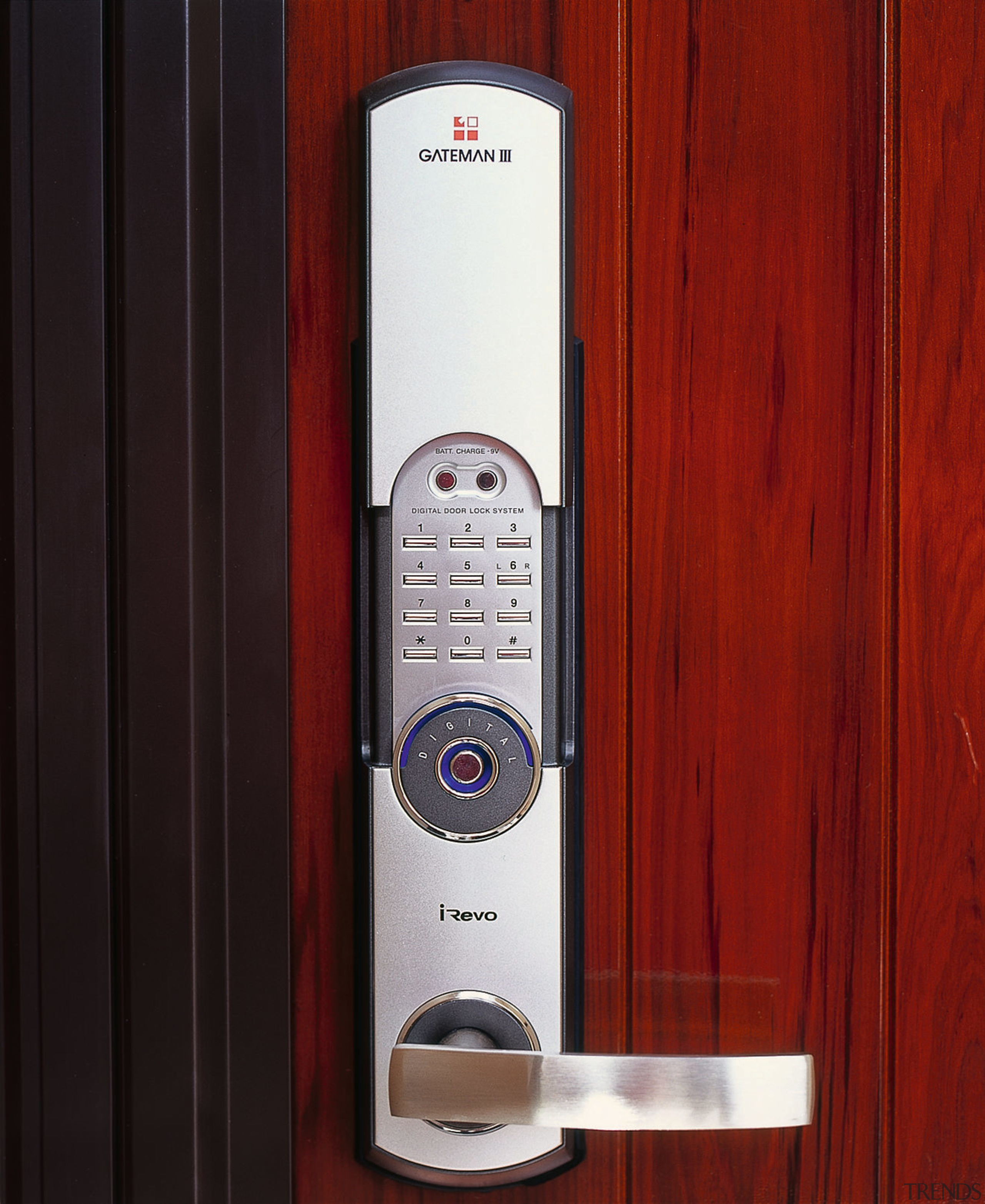 Close up view of the digital door handle hardware, lock, product, product design, red, black