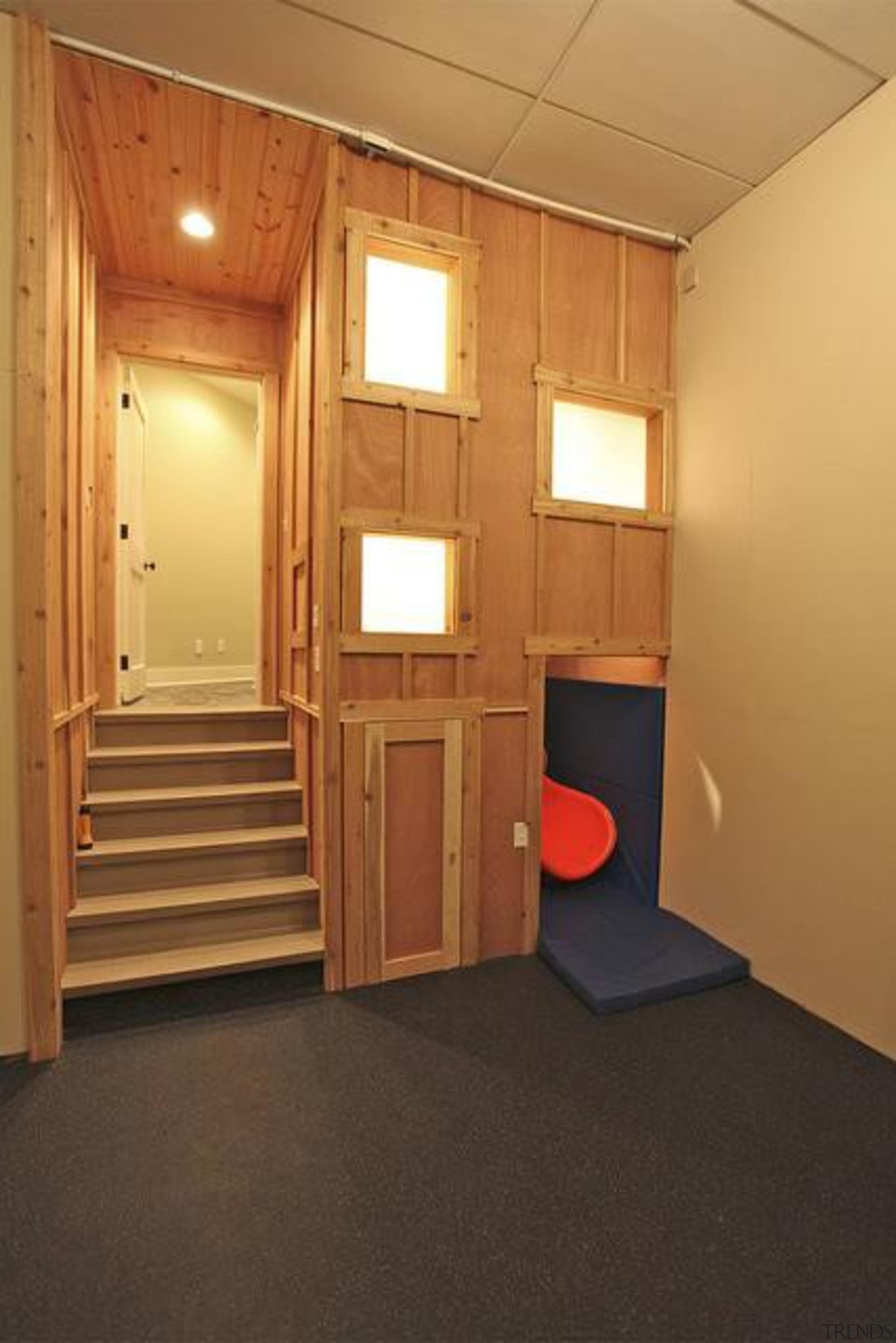 Created by Steve Kuhl of Kuhl Design Build, ceiling, door, floor, flooring, furniture, interior design, real estate, room, wall, wood, orange, brown