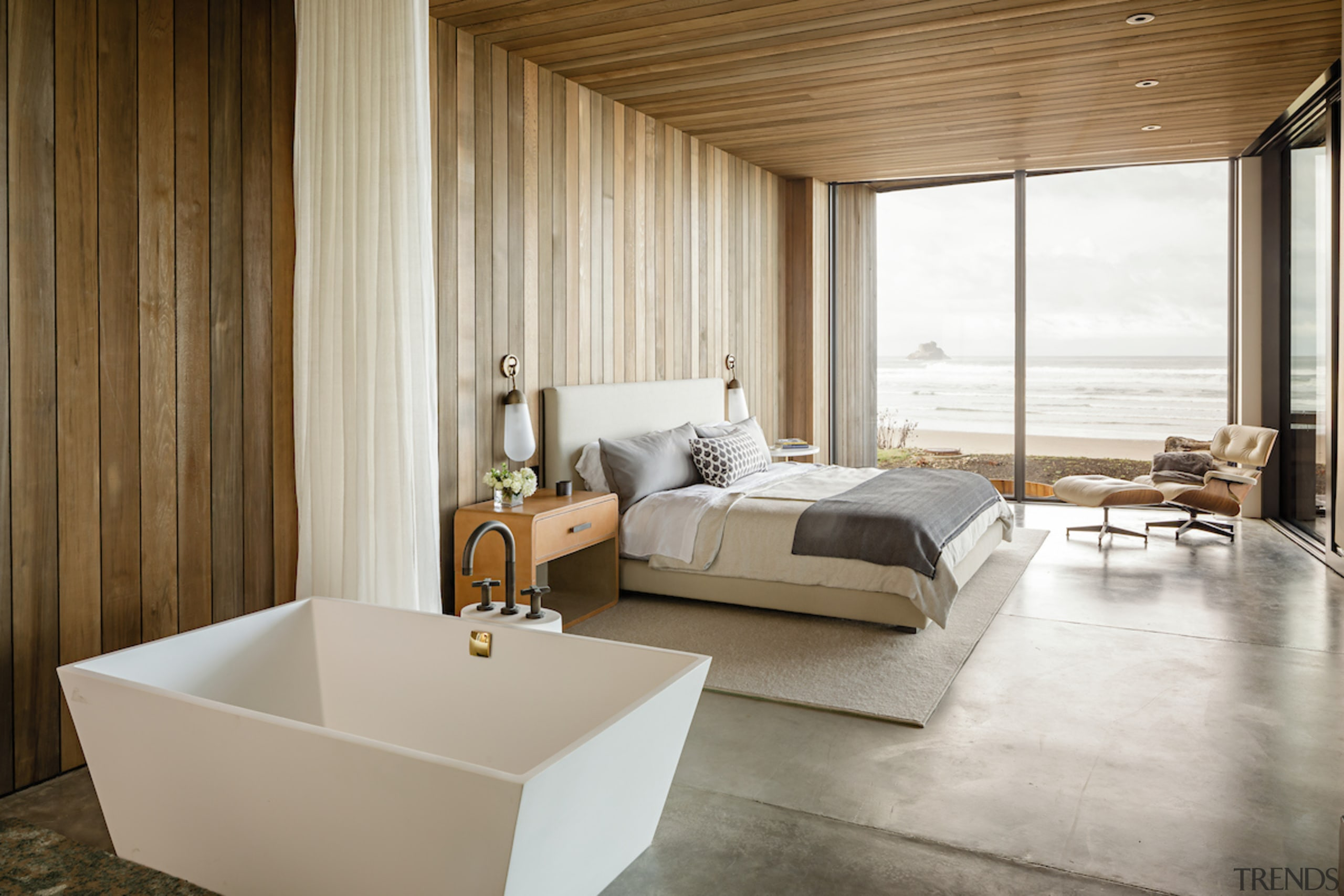 Muted tones in master ensuite reflect the surrounding architecture, bed, bed frame, ceiling, floor, flooring, furniture, interior design, mattress, room, suite, wood, gray, brown