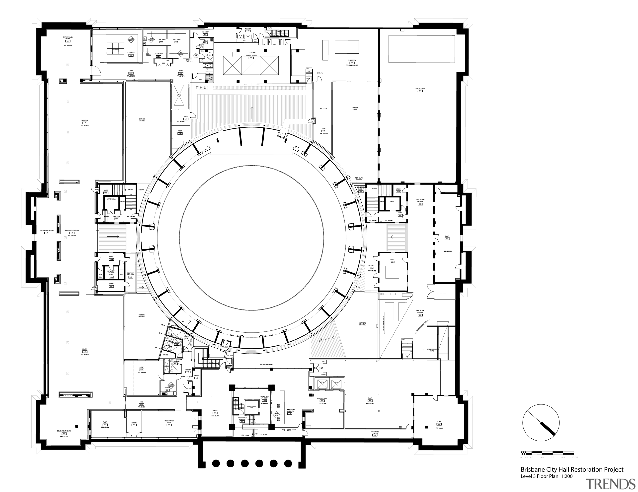 Code-compliant heritage restoration of Brisbane City Hall area, black and white, design, diagram, drawing, floor plan, font, line, plan, product, product design, technical drawing, text, white