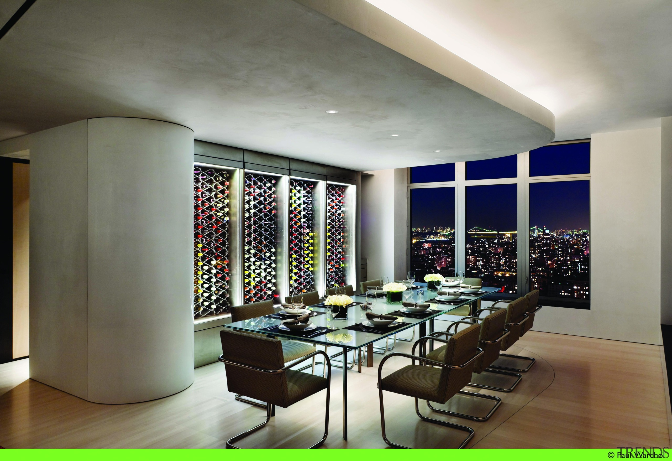 A unique and striking-looking wine storage solution for ceiling, dining room, interior design, room, table, gray