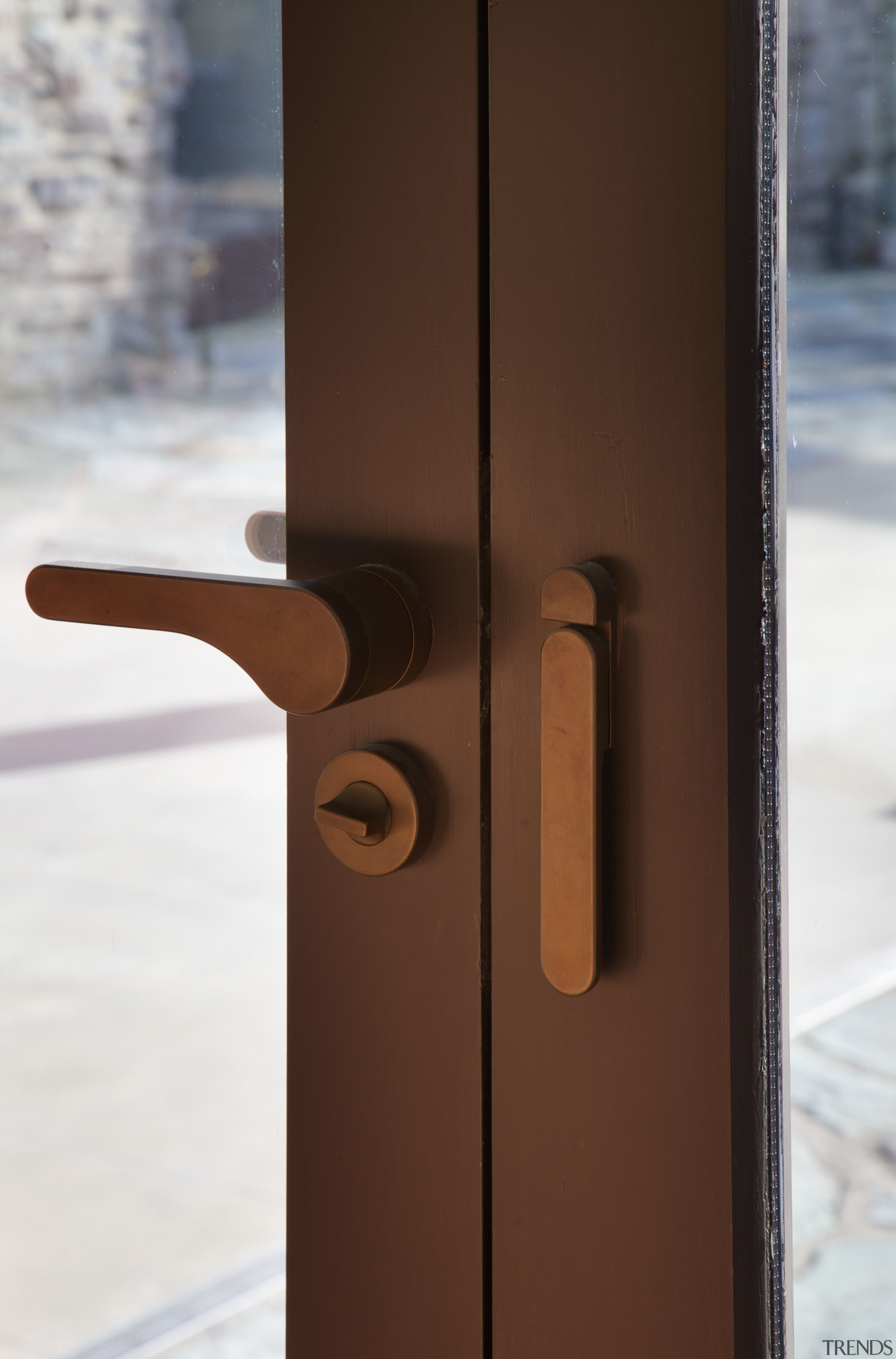 This French door handle in weathered bronze dark product design, wood, brown, white