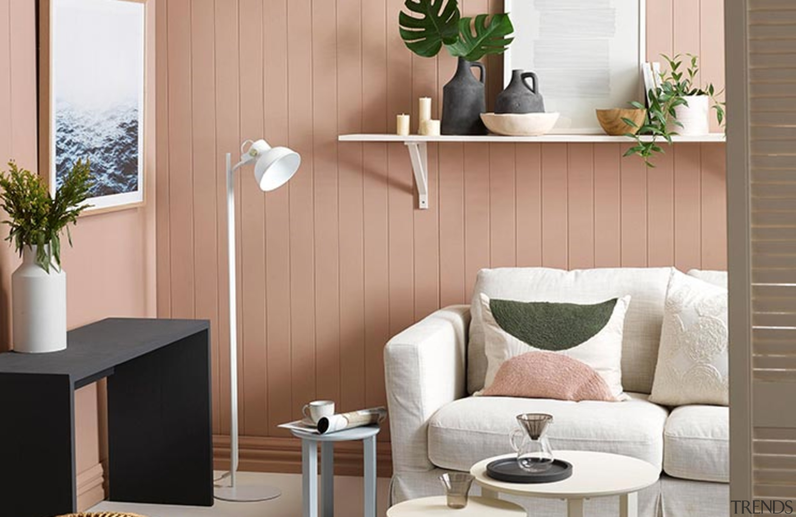 Interior design trends 2019 – what's in and coffee table, floor, furniture, houseplant, interior design, living room, plant, product, room, shelf, table, wall, white, orange