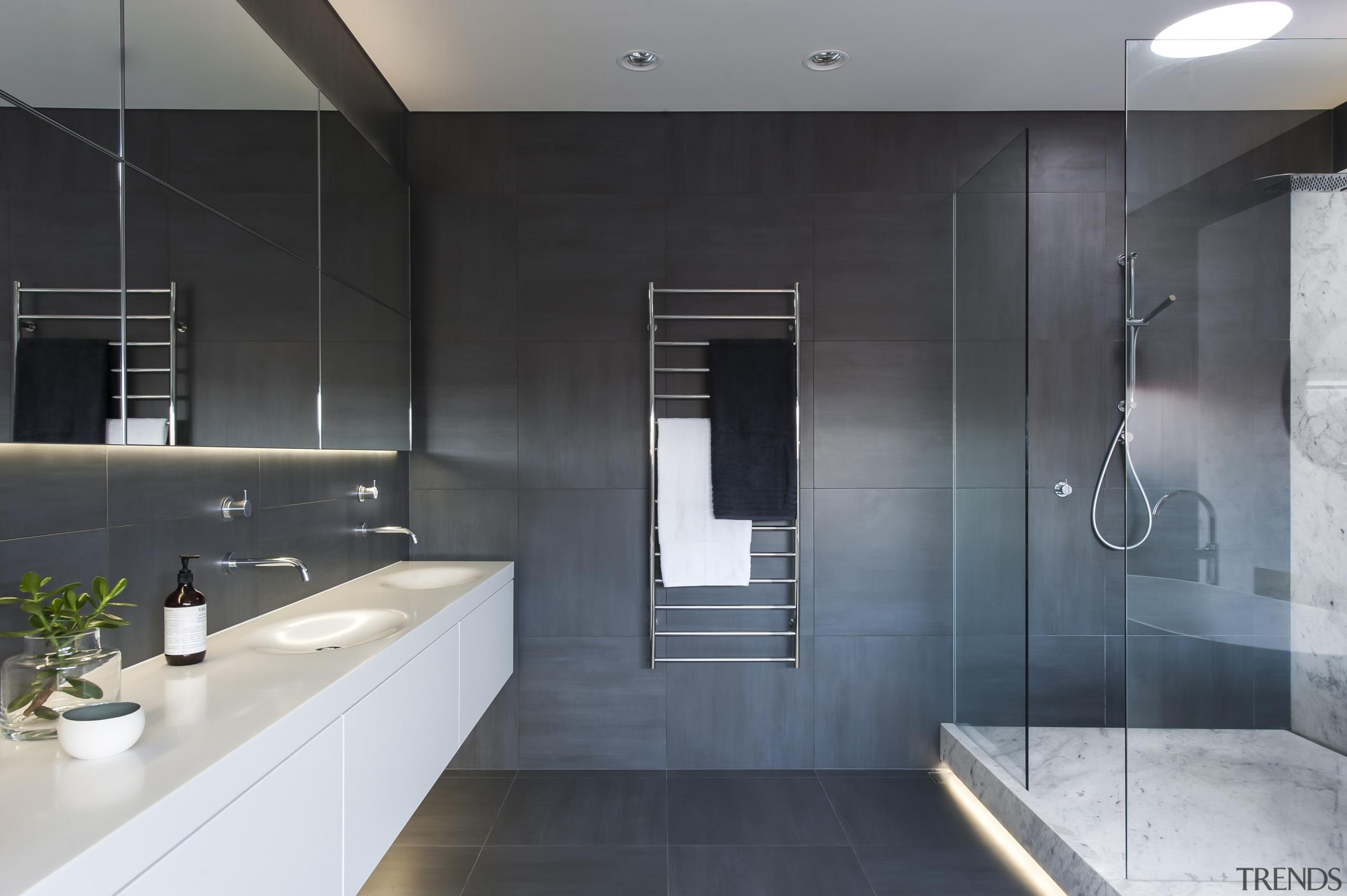 The double vanity in this bathroom is hand architecture, bathroom, countertop, floor, interior design, room, tile, black, gray