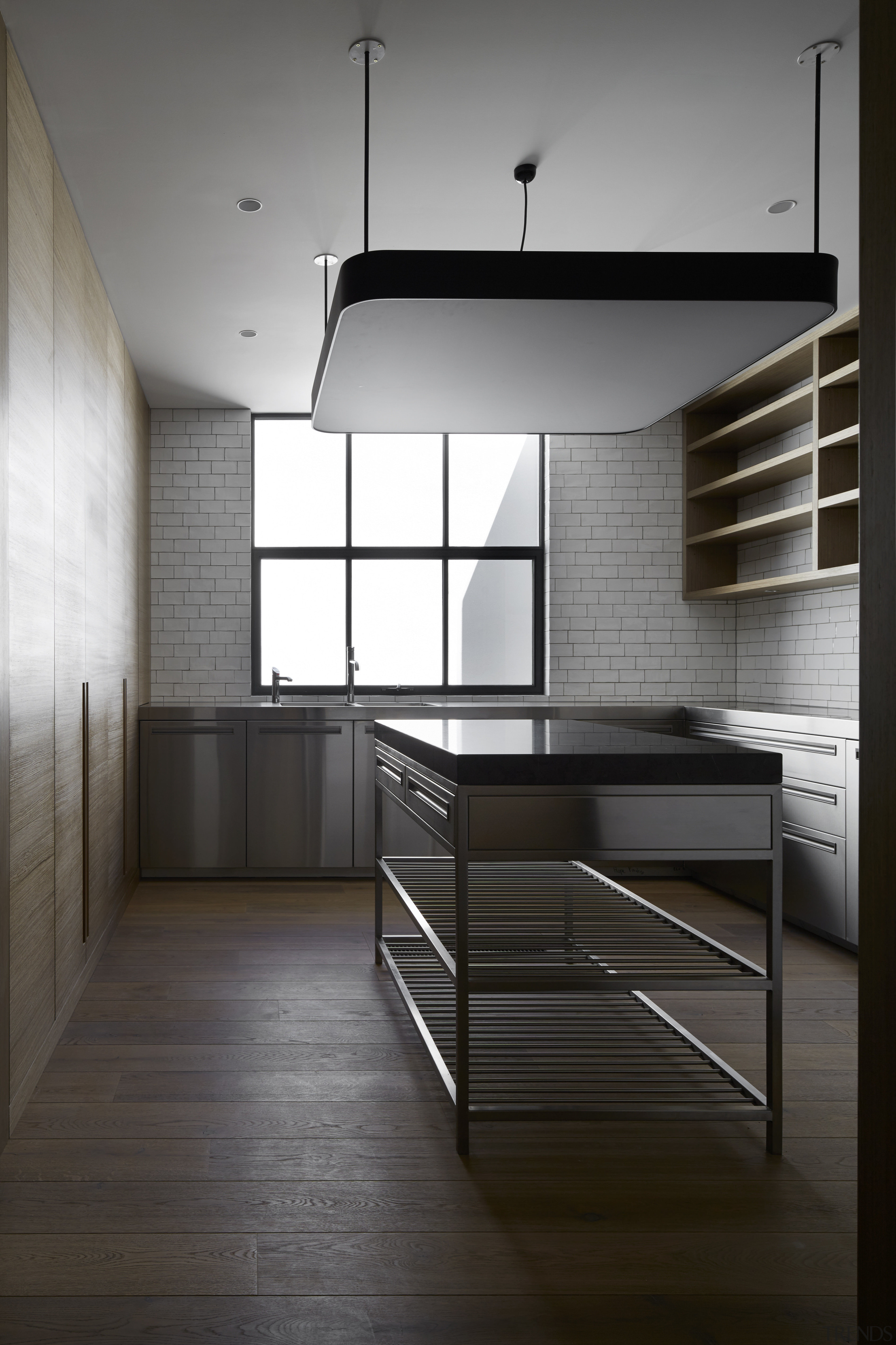 This pantry has the same black, white, and architecture, cabinetry, countertop, daylighting, floor, furniture, house, interior design, kitchen, loft, product design, black, gray