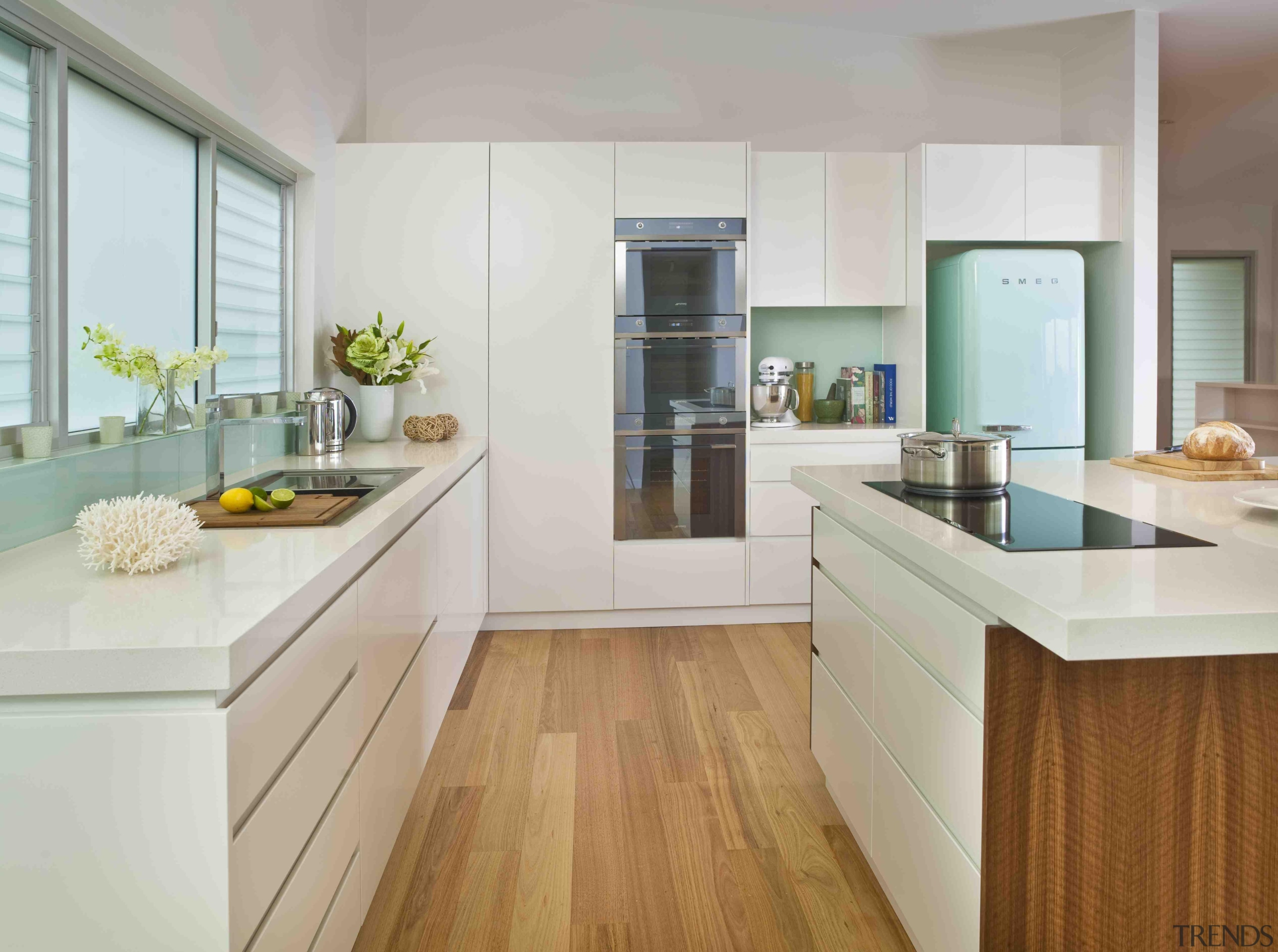 Kitchen inspiration! The Linea range ovens and Fab cabinetry, countertop, cuisine classique, floor, hardwood, interior design, kitchen, real estate, room, gray, white