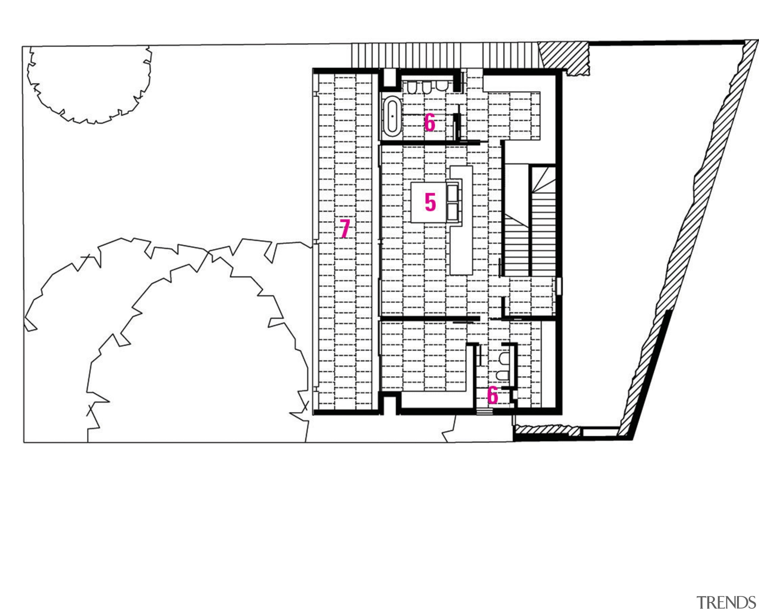 1 Garge. 2 Entry. 3 Family room. 4 area, design, diagram, drawing, floor plan, font, line, plan, product, text, white