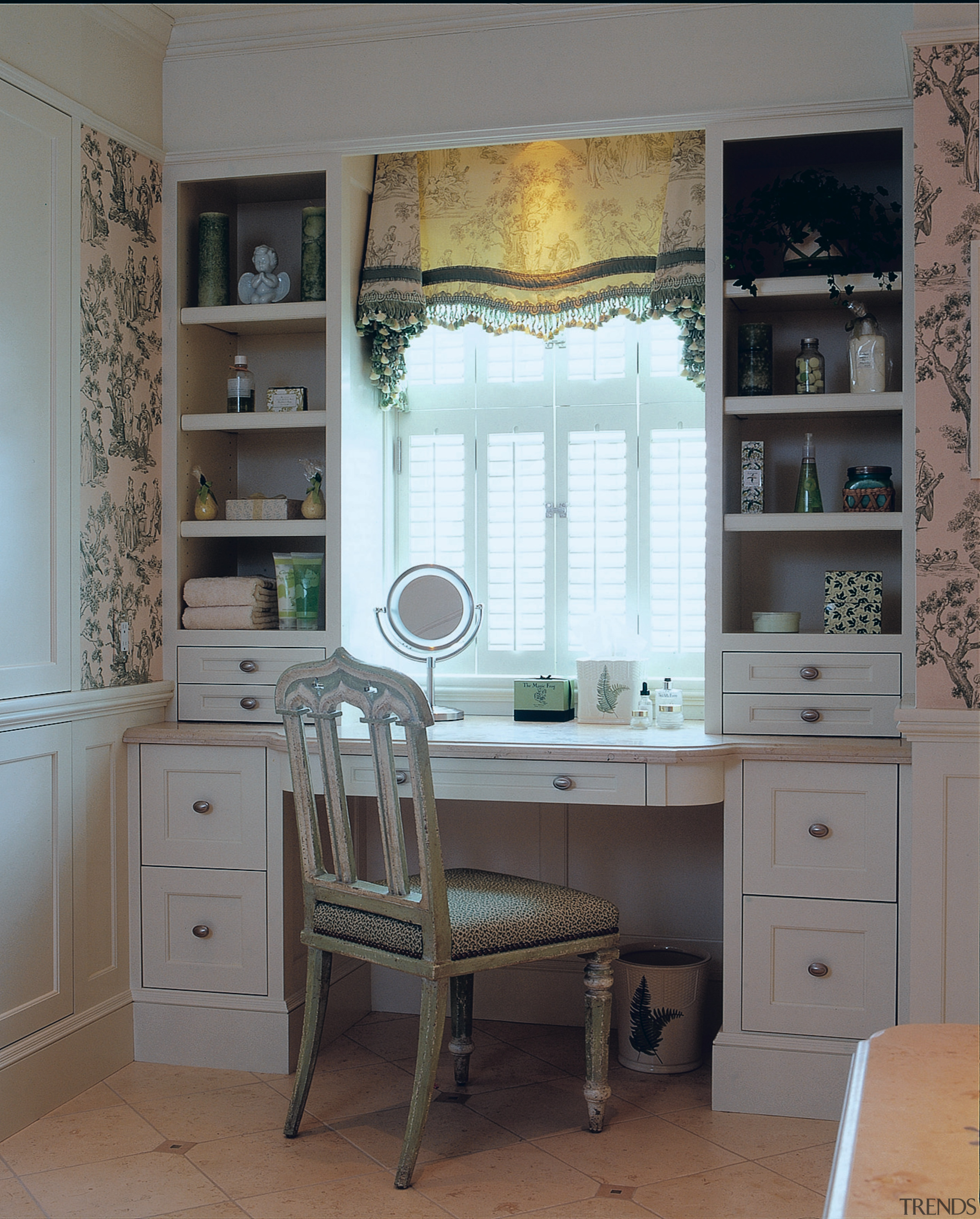 View of the cabinetry in this bathroom - cabinetry, chest of drawers, countertop, curtain, desk, floor, furniture, home, interior design, kitchen, room, shelf, shelving, table, wall, window, window covering, window treatment, gray