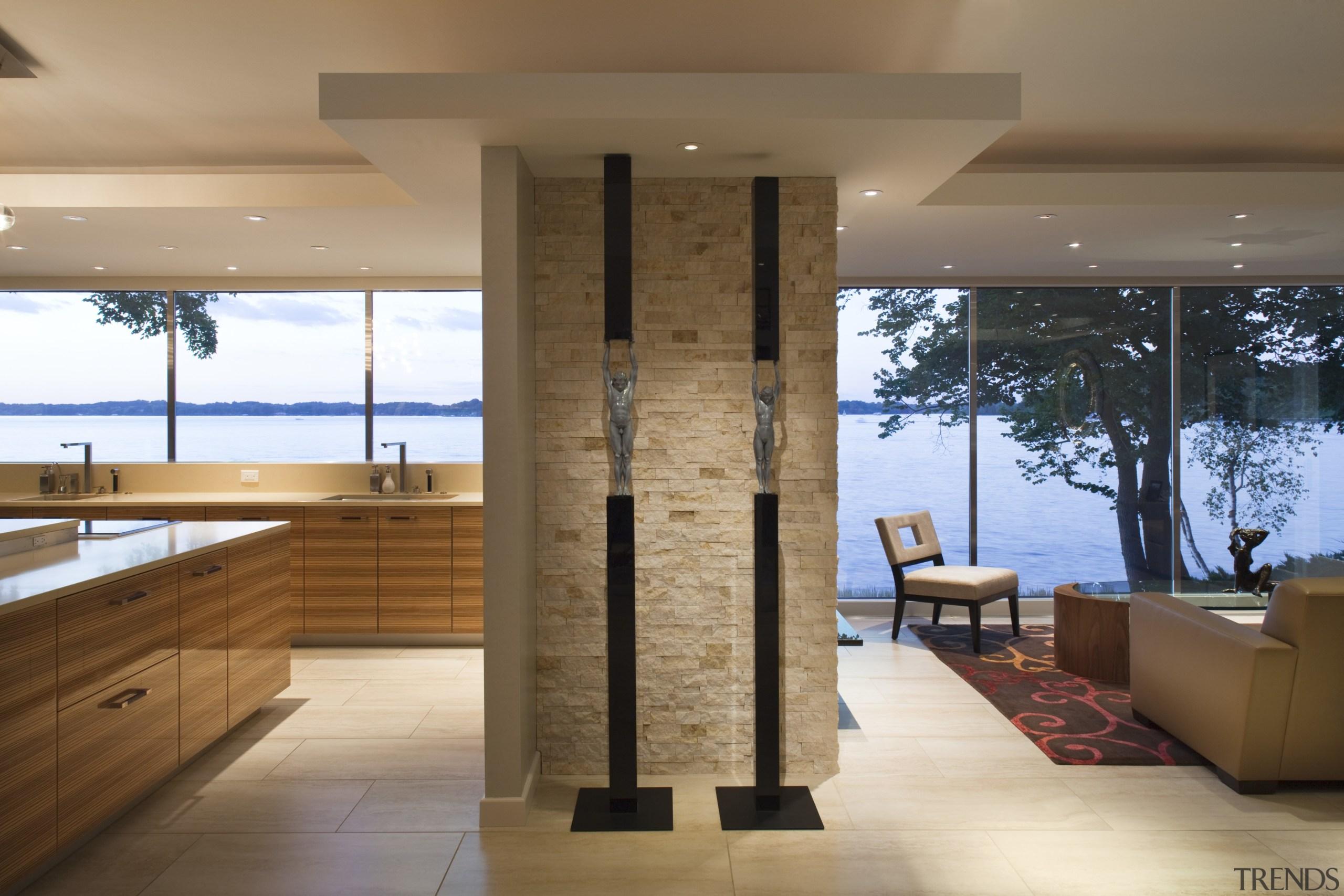 View fo kitchen remodelled with Zebrano Vaneer.  architecture, floor, flooring, interior design, wood, brown