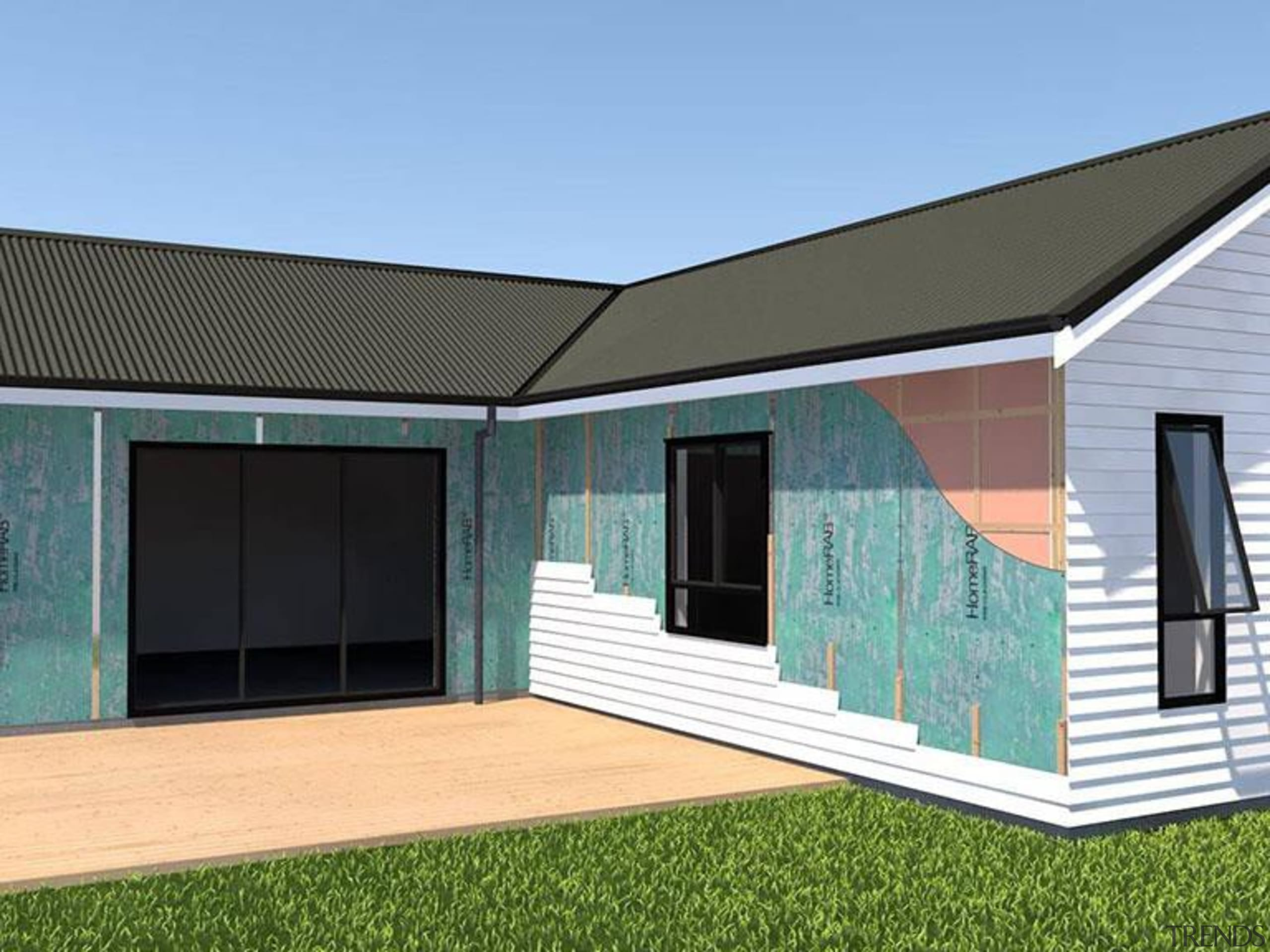 RAB Board - architecture | elevation | facade architecture, elevation, facade, home, house, property, real estate, roof, shed, siding, window, teal
