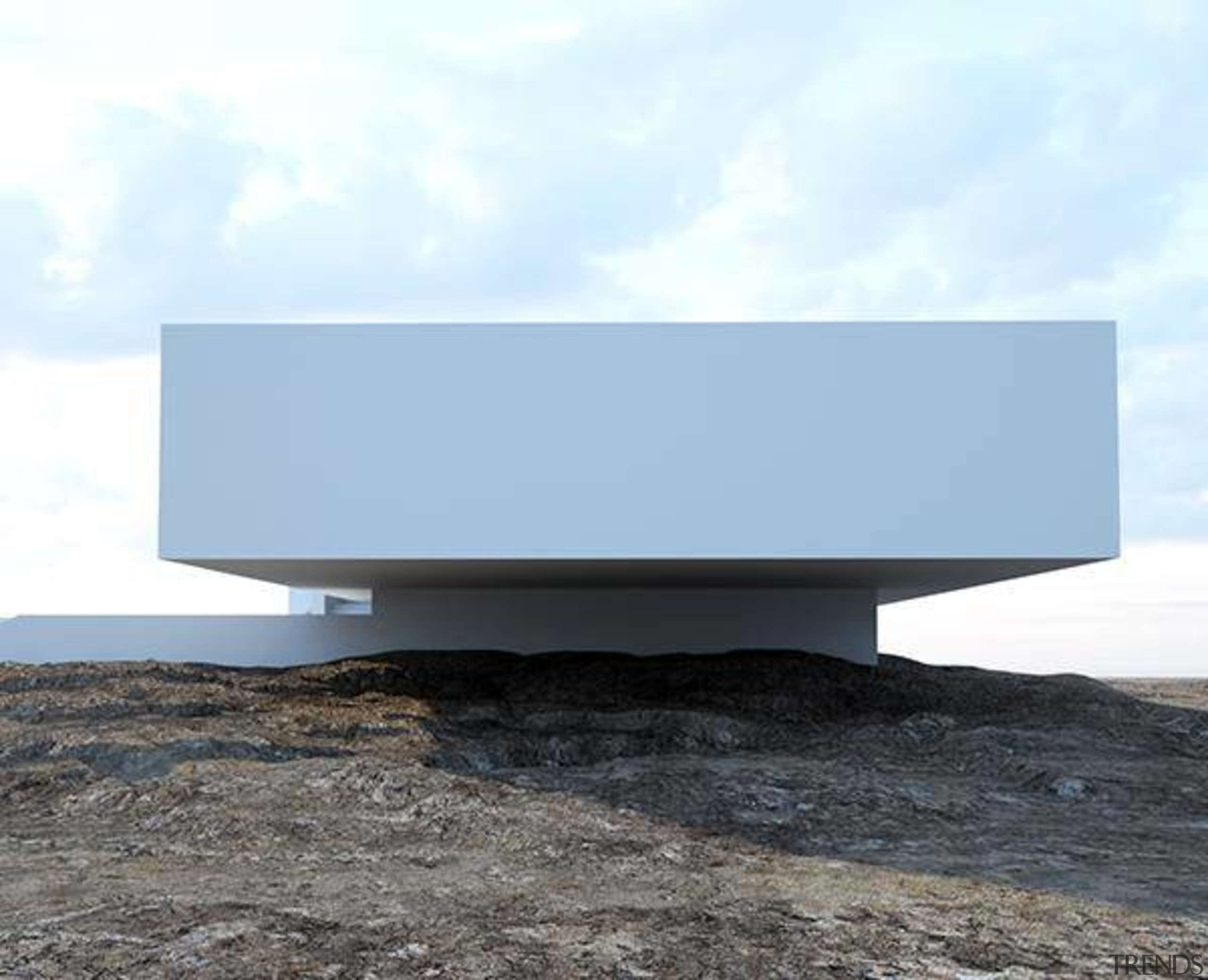 Balancing – the house has an impressive cantilever architecture, product design, sky, table, white
