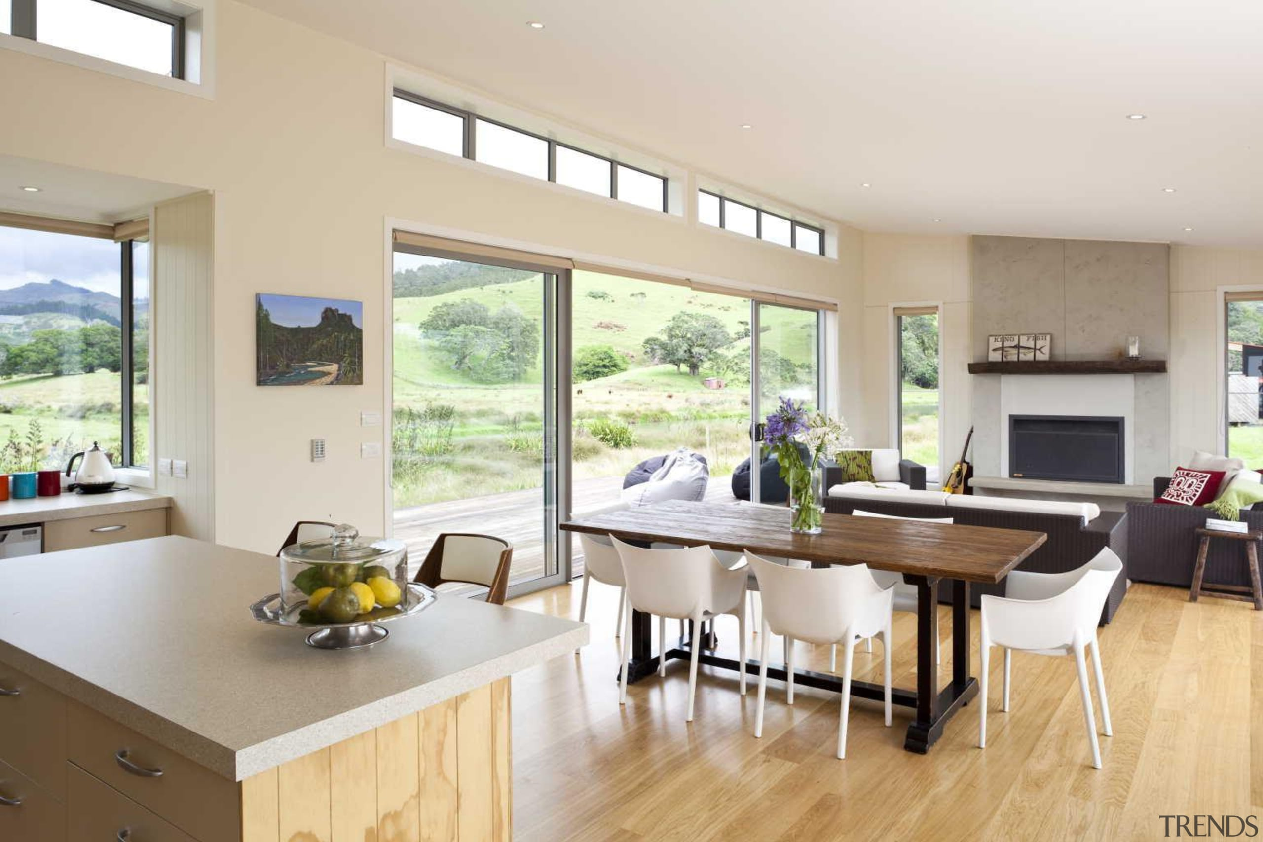 Timber flooring contemporary kitchen and dining area countertop, interior design, kitchen, real estate, window, gray