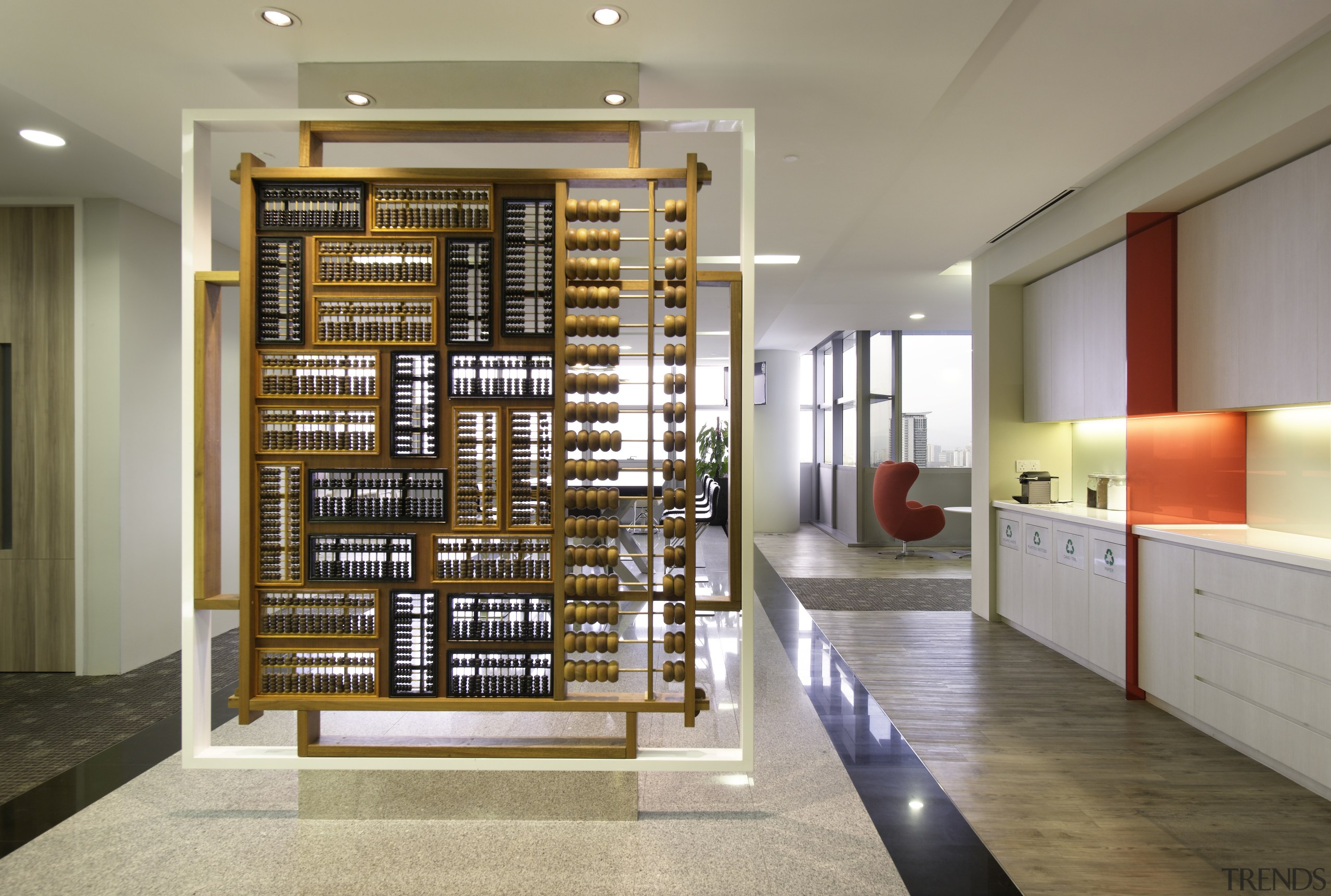 Freestanding baffle walls by the lifts display different interior design, shelving, gray, brown