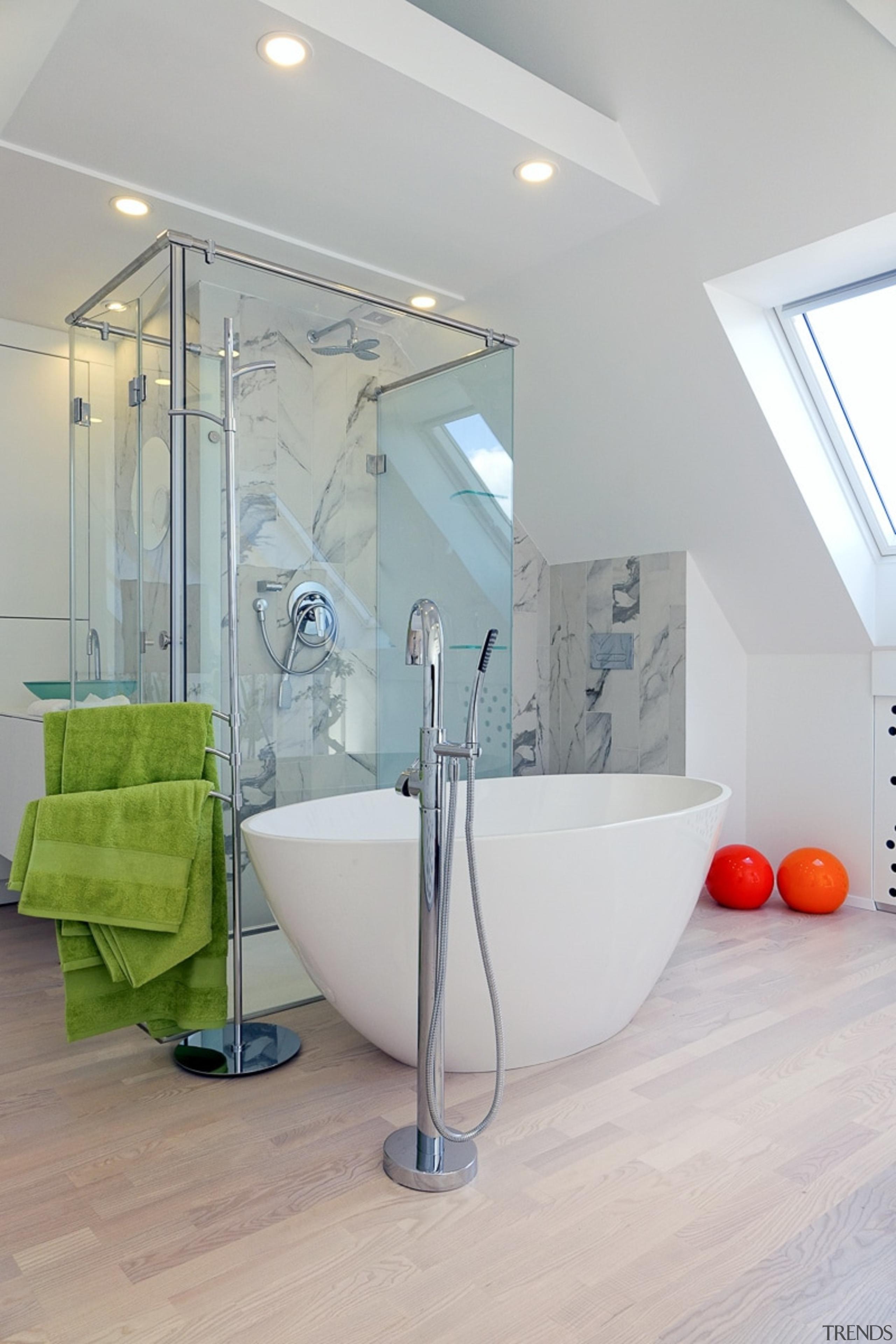 The upper floor bedroom is a place of architecture, bathroom, floor, interior design, plumbing fixture, room, gray