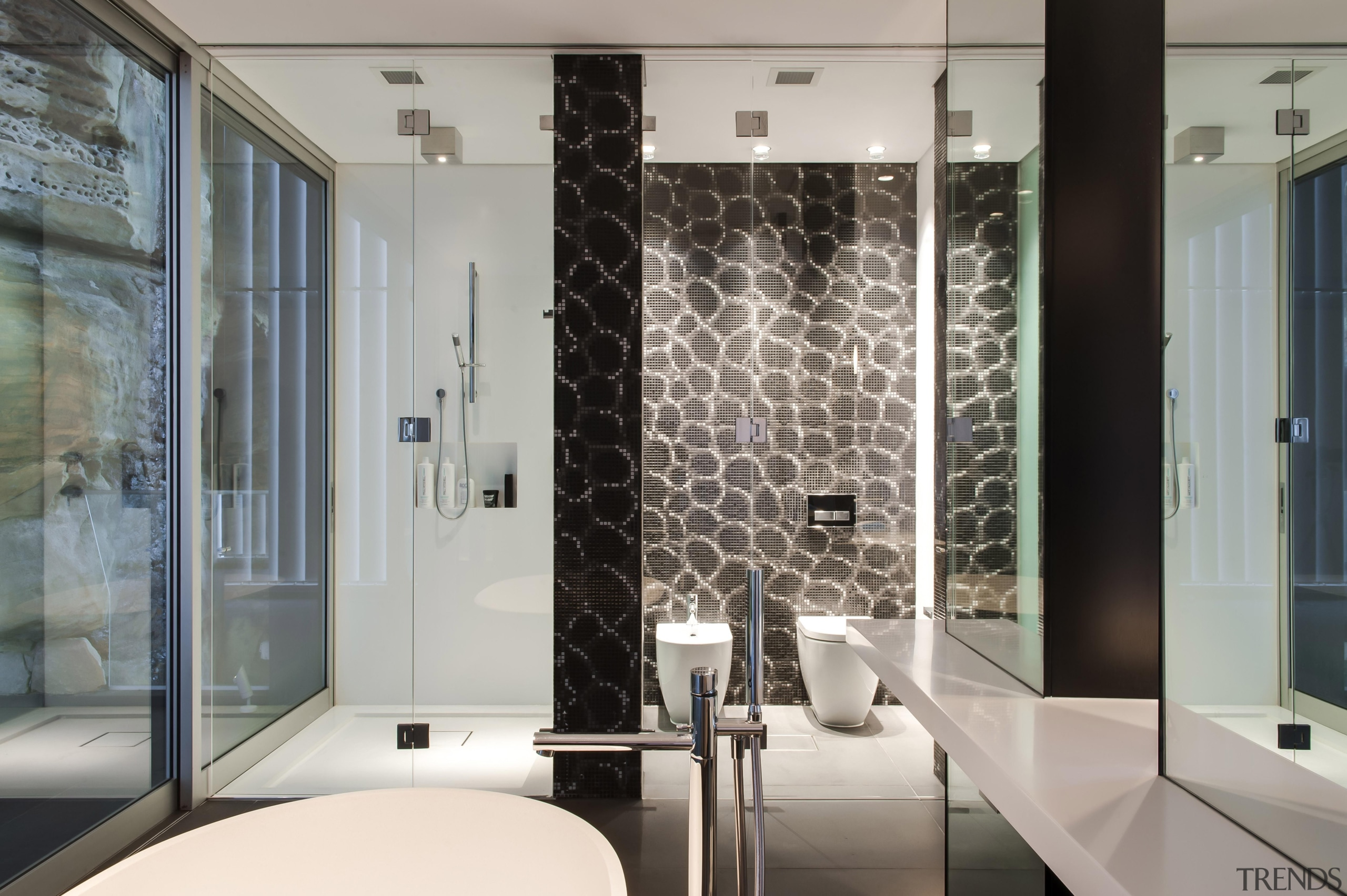 Winner Bathroom Design of the Year 2013 New bathroom, flooring, glass, interior design, wall, window, gray