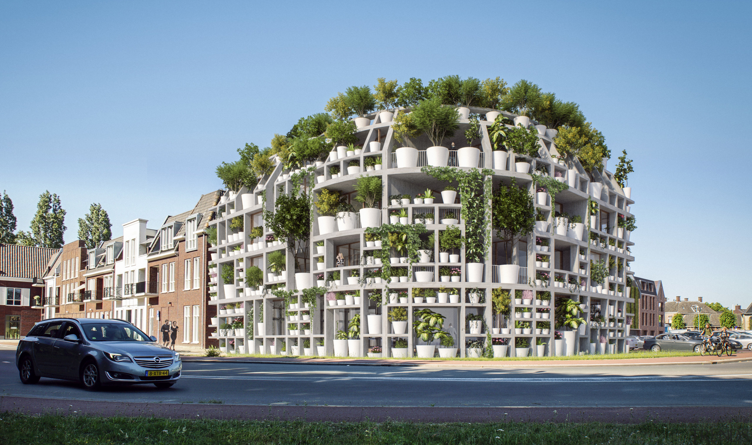 With Green Villa, MVRDV has rounded a corner apartment, architecture, building, car, city car, compact car, condominium, facade, family car, house, luxury vehicle, metropolitan area, mid-size car, mixed-use, neighbourhood, property, real estate, residential area, subcompact car, suburb, tree, urban design, vehicle, teal