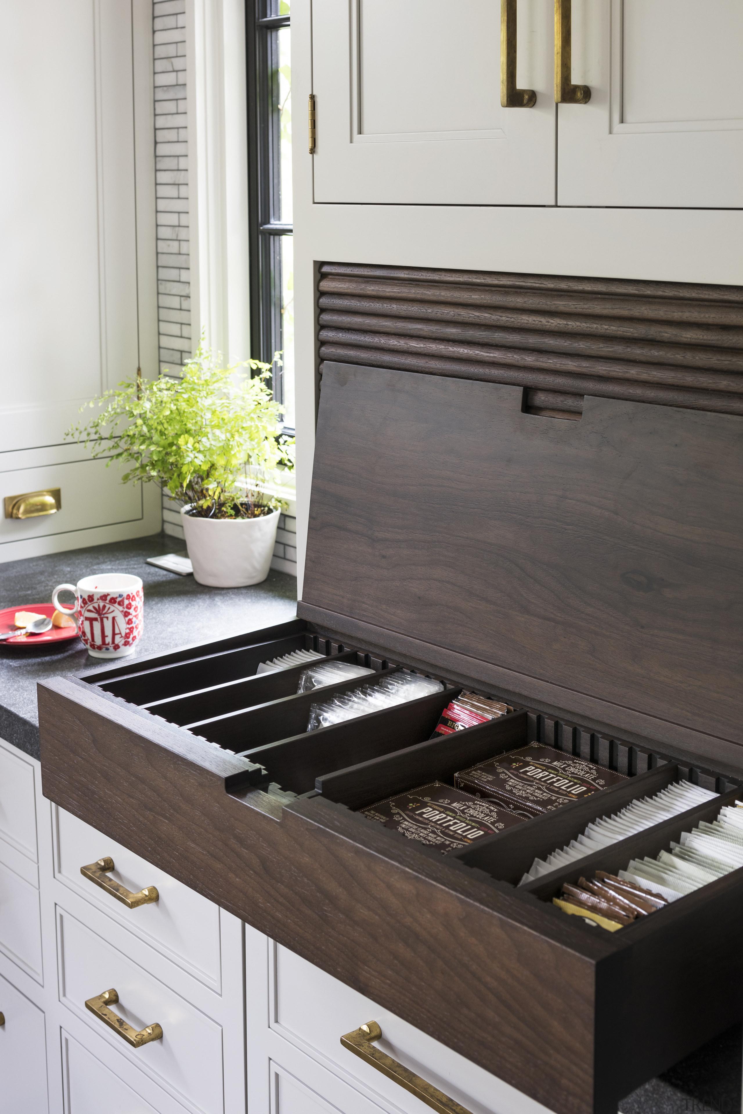 This kitchen features a variety of niche storage cabinetry, drawer, furniture, interior design, kitchen, Studio Dearborne