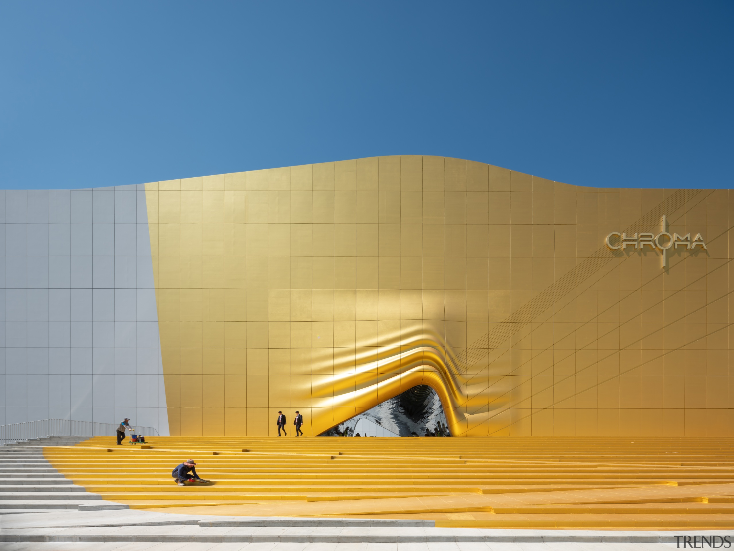 0994 - architecture | daylighting | daytime | architecture, daylighting, daytime, facade, line, sky, sunlight, wall, yellow, orange