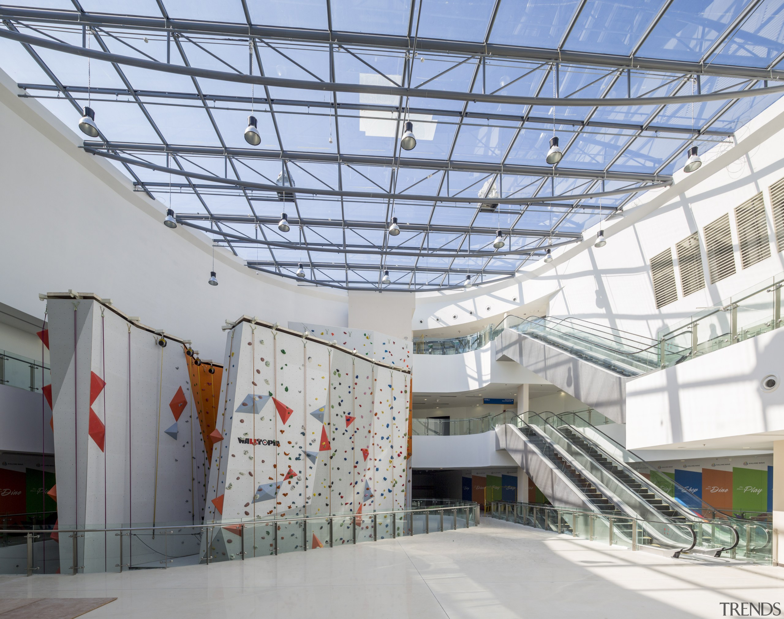 The retail mall at the Singapore Sports Hub architecture, building, ceiling, daylighting, roof, structure, tourist attraction, gray