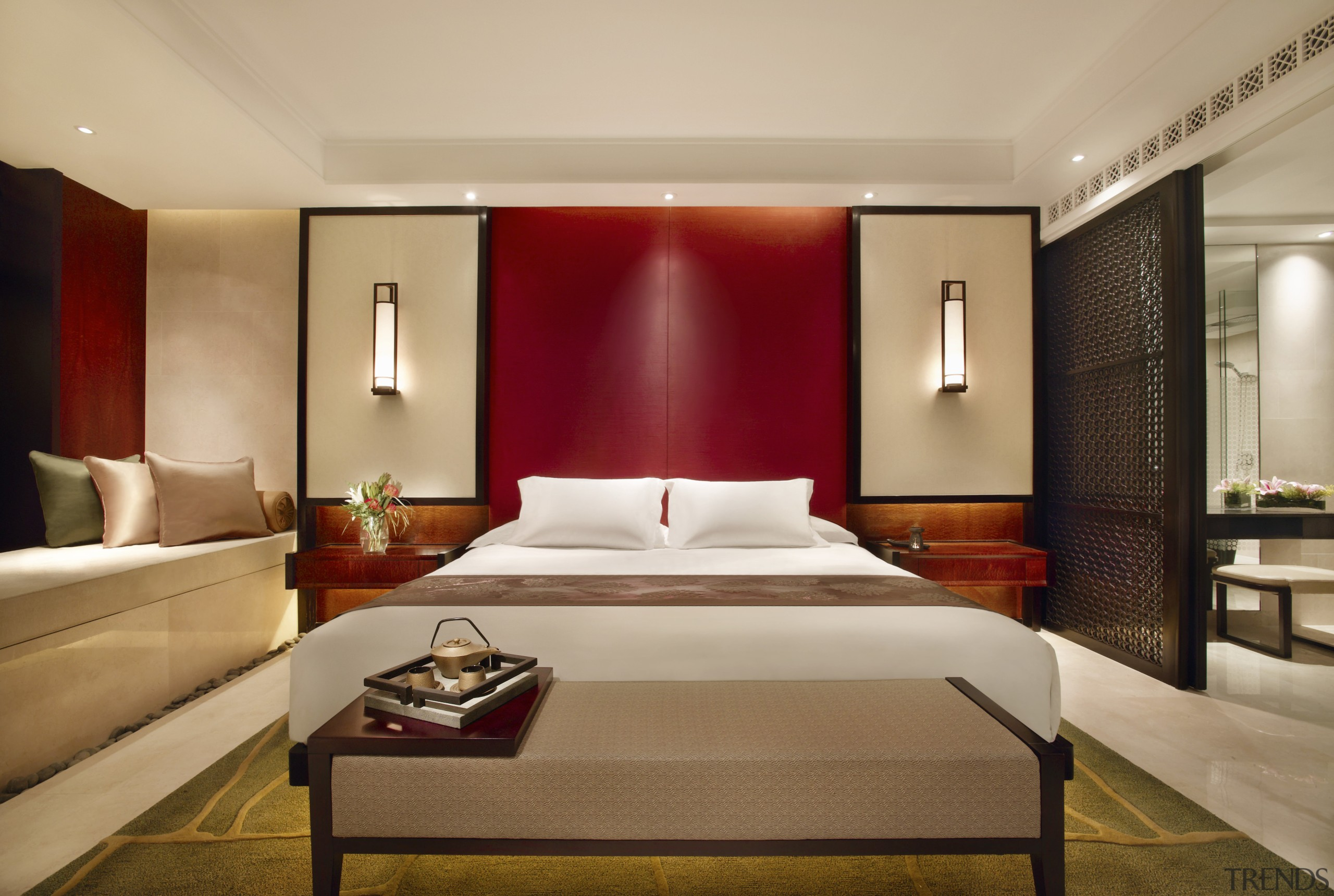Bedroom with white bed and red feat... - Gallery - 1 | Trends