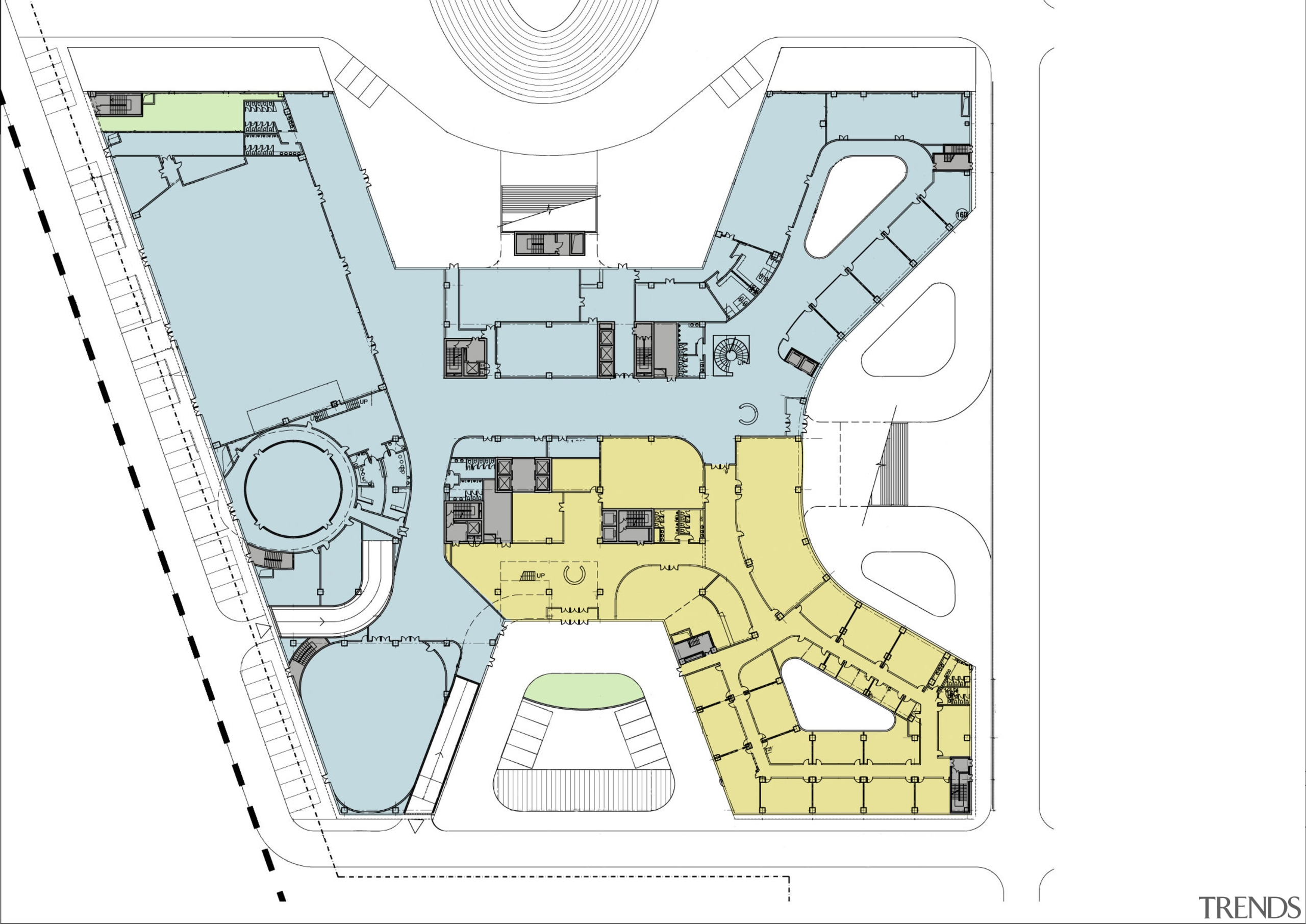 Plan of the Xian Jiaotong-Liverpool University Administration Building architecture, area, design, diagram, floor plan, font, line, plan, product design, structure, urban design, white