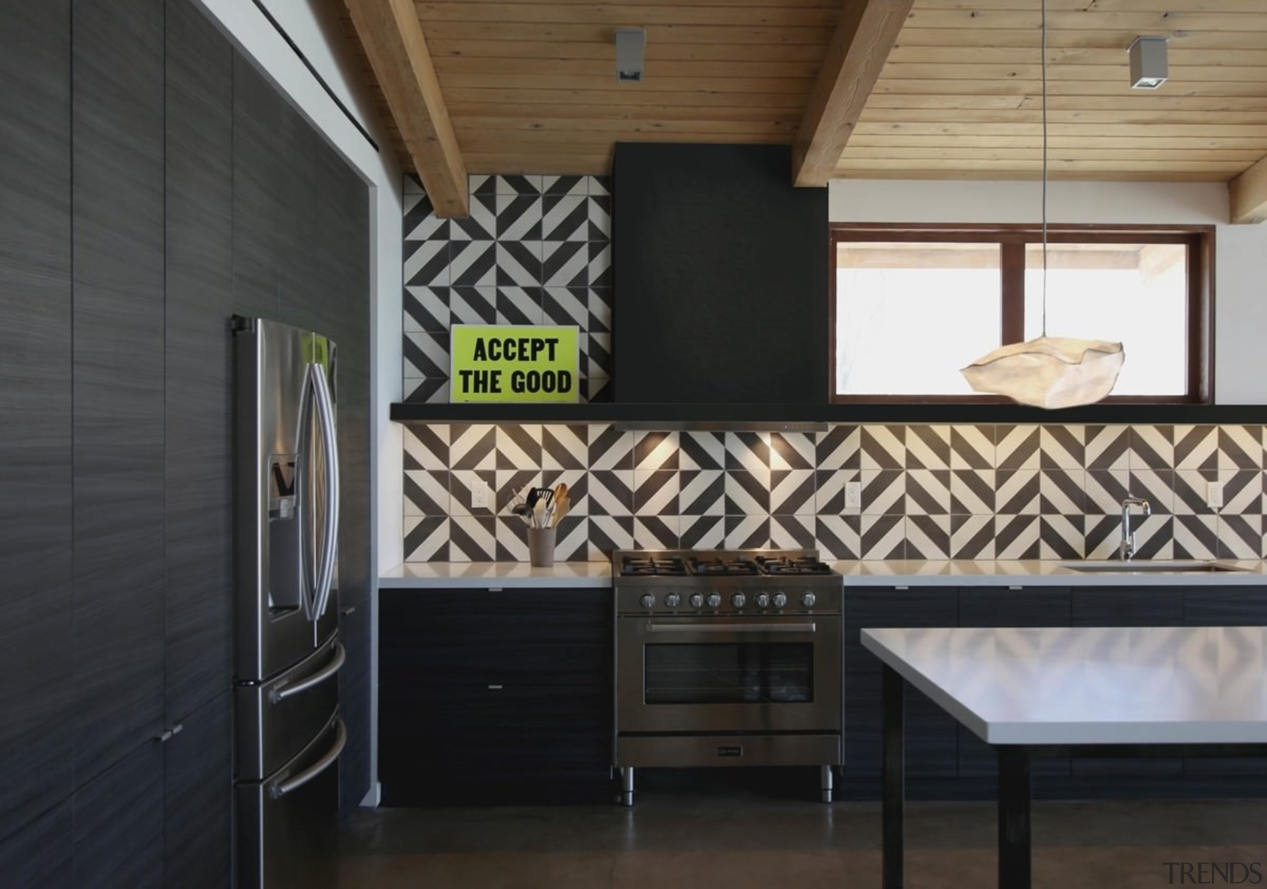 A stand-out splash back helps to balance the architecture, floor, home, interior design, real estate, wall, black