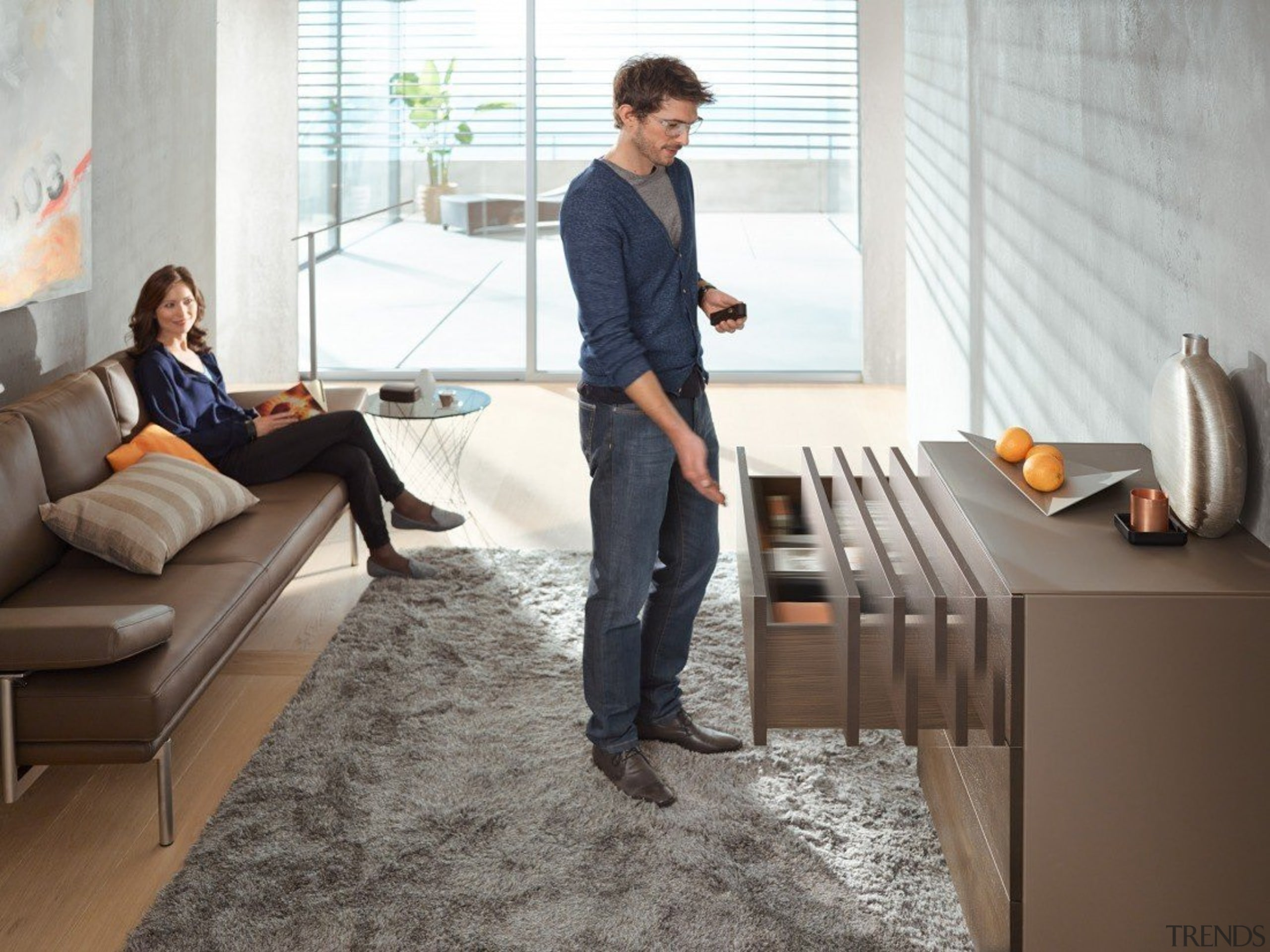 TIP-ON BLUMOTION for MOVENTO combines the advantages of floor, flooring, furniture, interior design, room, table, white