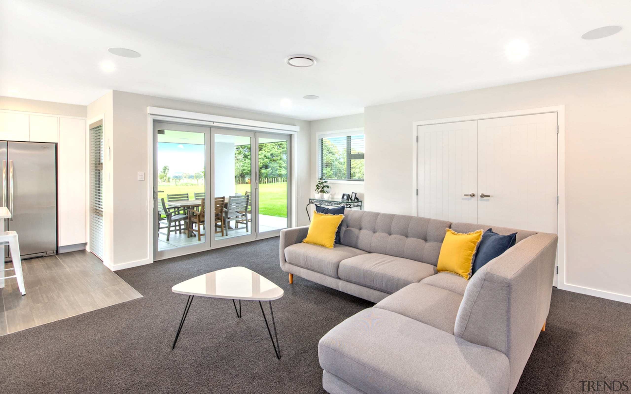 Award-winning home offers intelligent layouts and refined finishes house, interior design, living room, property, real estate, room, window, white