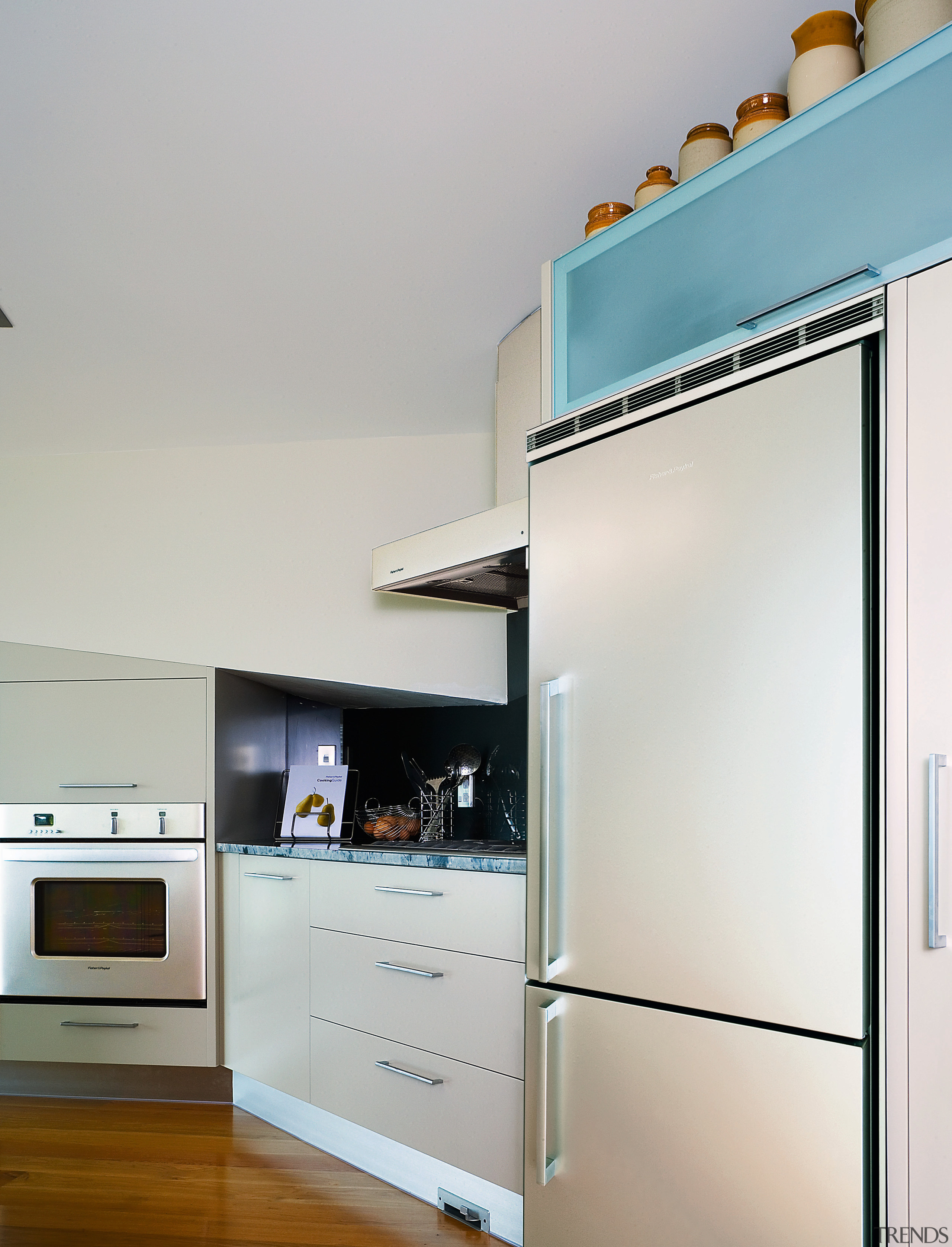 A view of this kitchen featuring the latest home appliance, interior design, kitchen, product design, gray